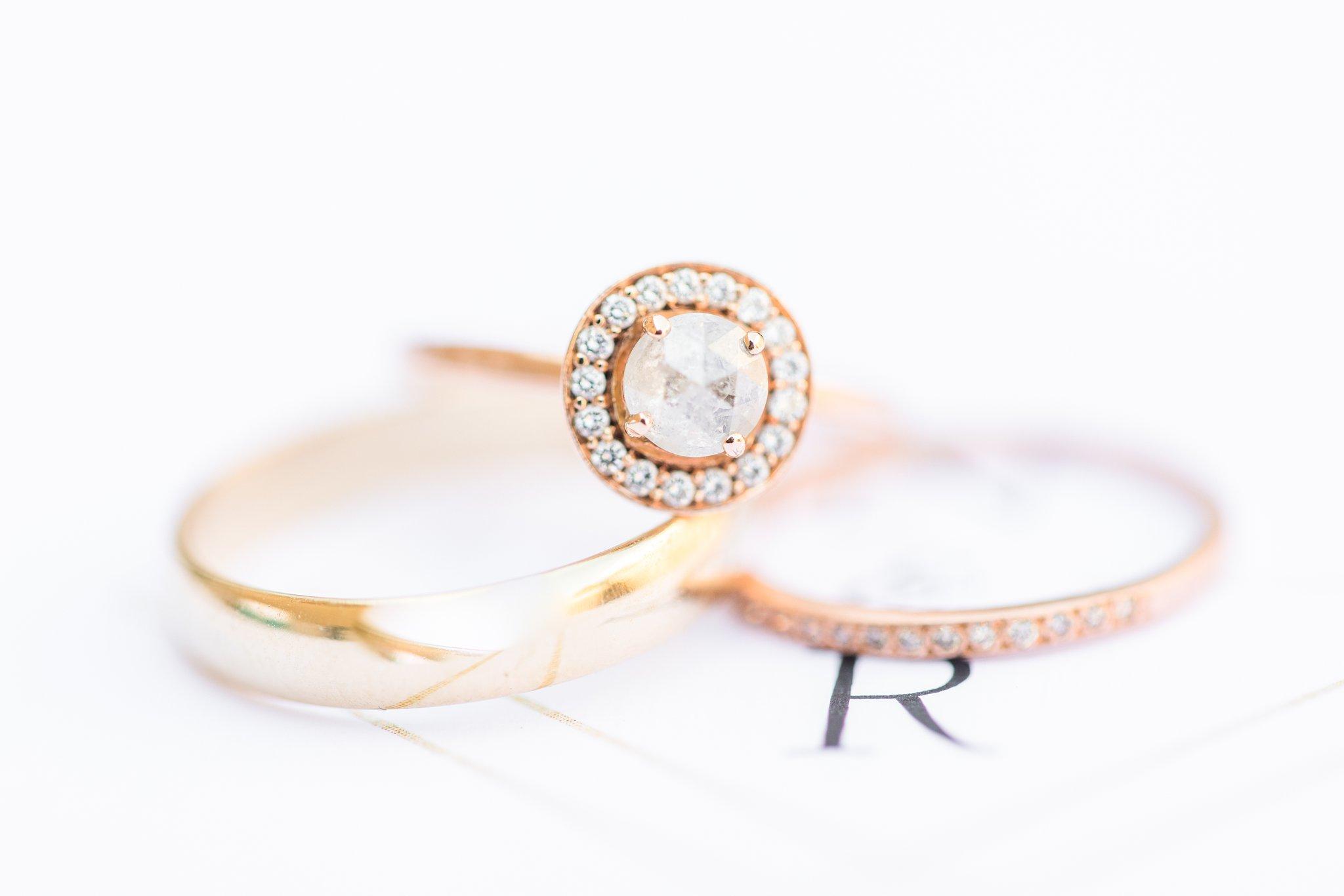 wedding rings, round engagement ring, Britannia Yacht Club Wedding Photos, Amy Pinder Photography