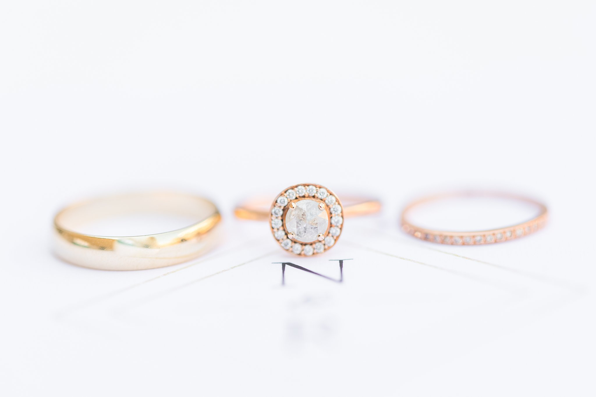 round engagement ring, halo, gold, rose gold, Britannia Yacht Club Wedding Photos, Amy Pinder Photography