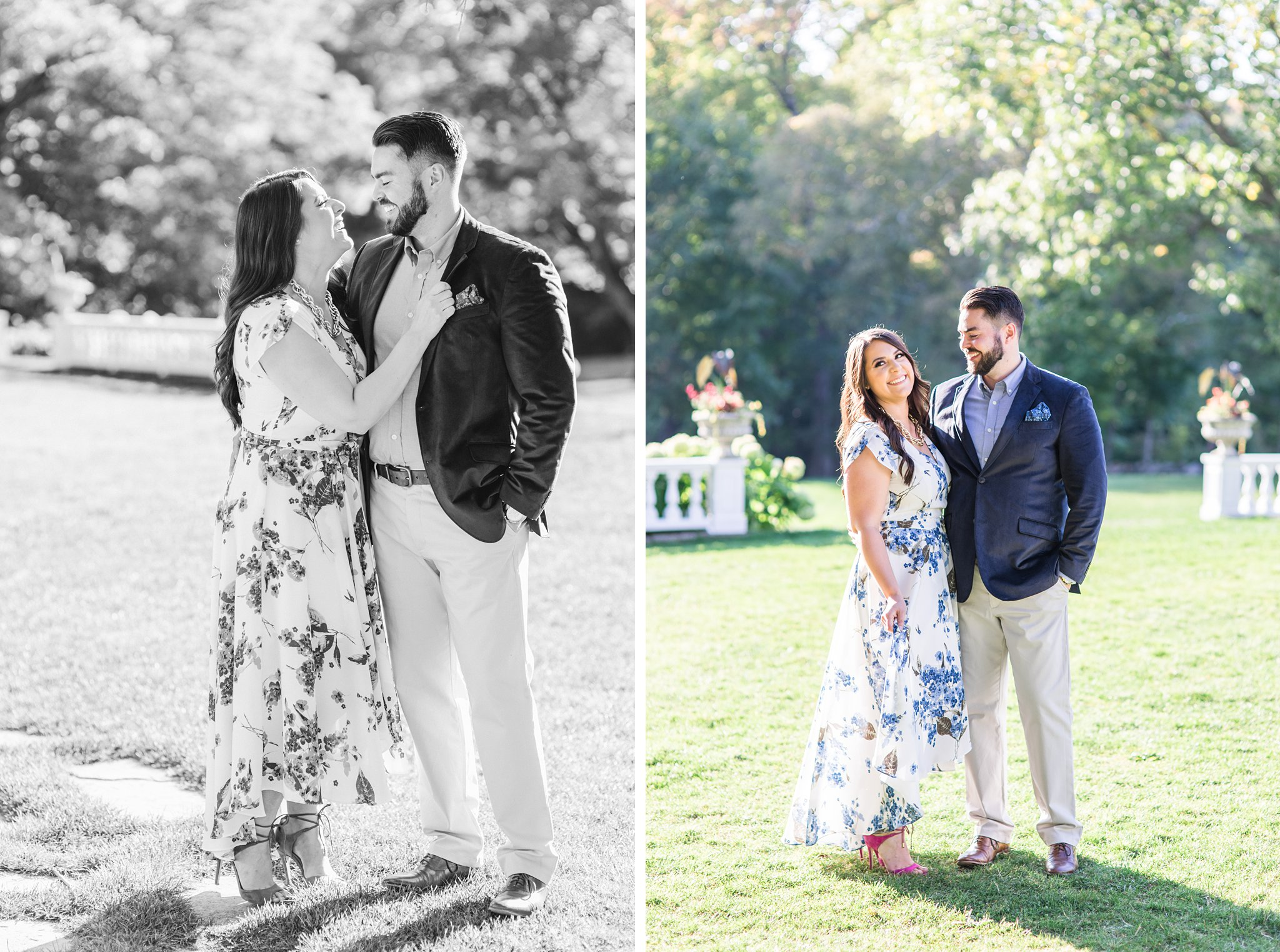 Front lawn of MKE, Mackenzie King Estate Engagement Photos by Amy Pinder Photography