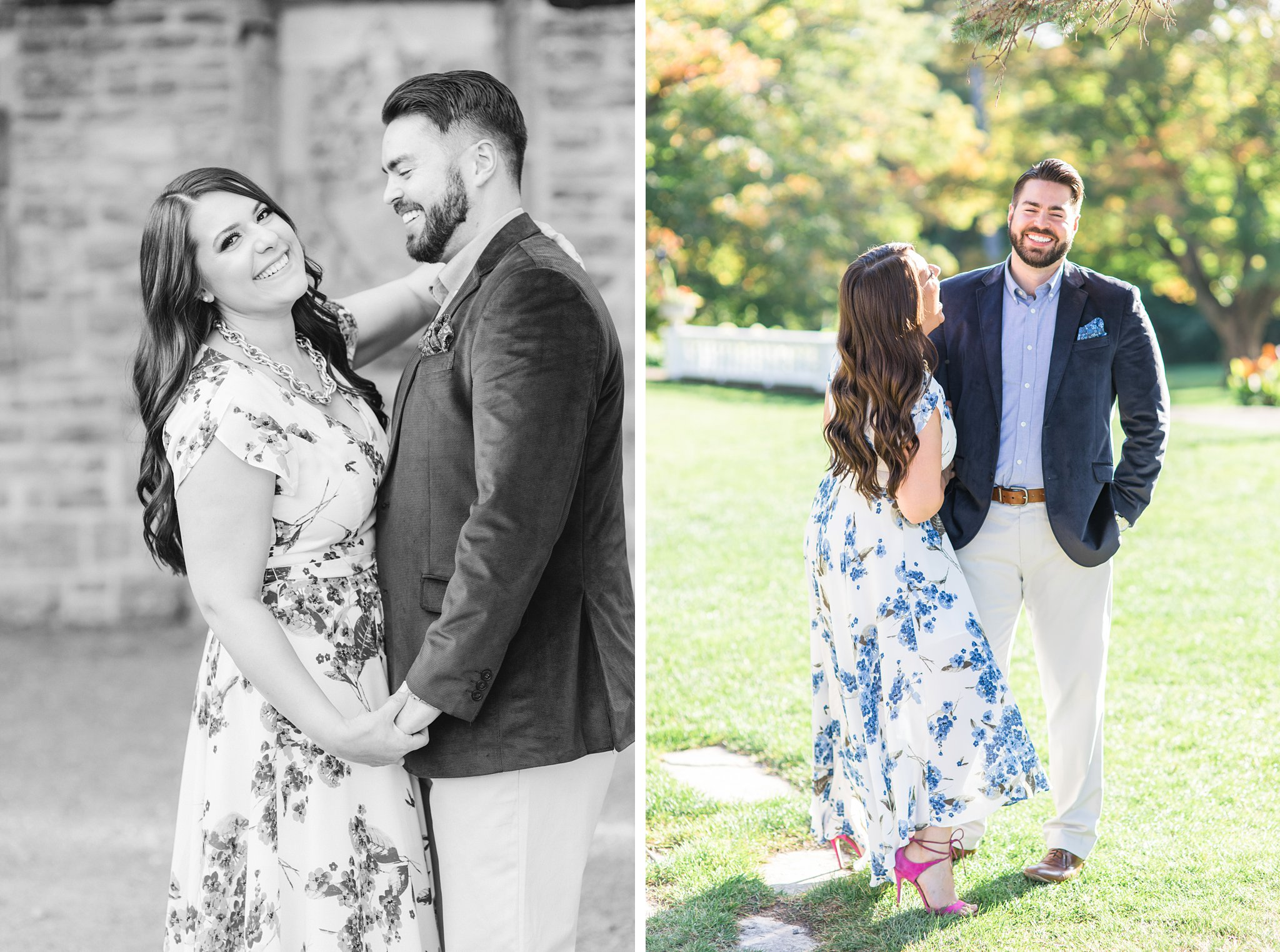 Bride and groom walk by historical ruins, Mackenzie King Estate Engagement Photos by Amy Pinder Photography