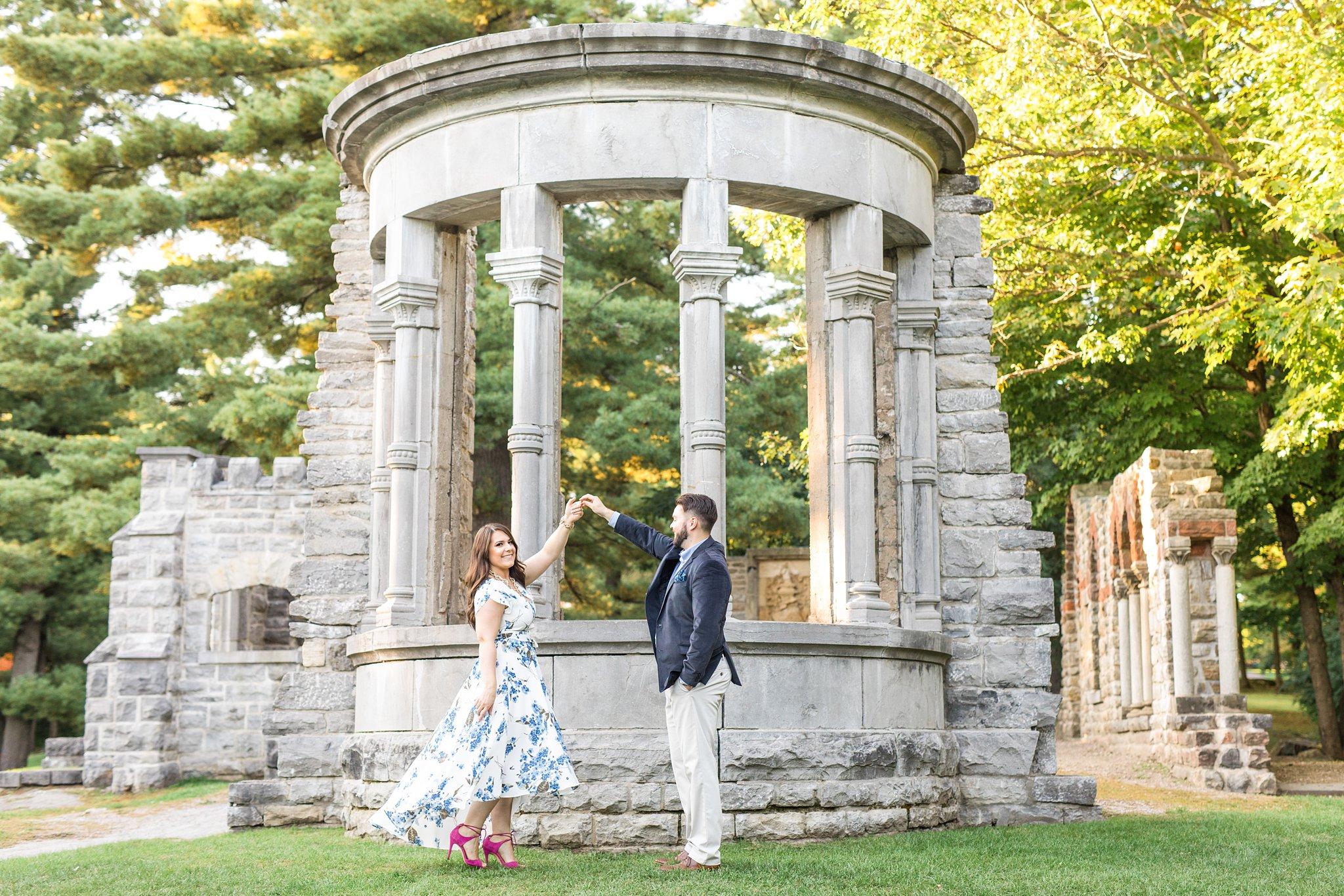 Large stone ruins of Mackenzie King Estate, twirl bride, Mackenzie King Estate Engagement Photos by Amy Pinder Photography