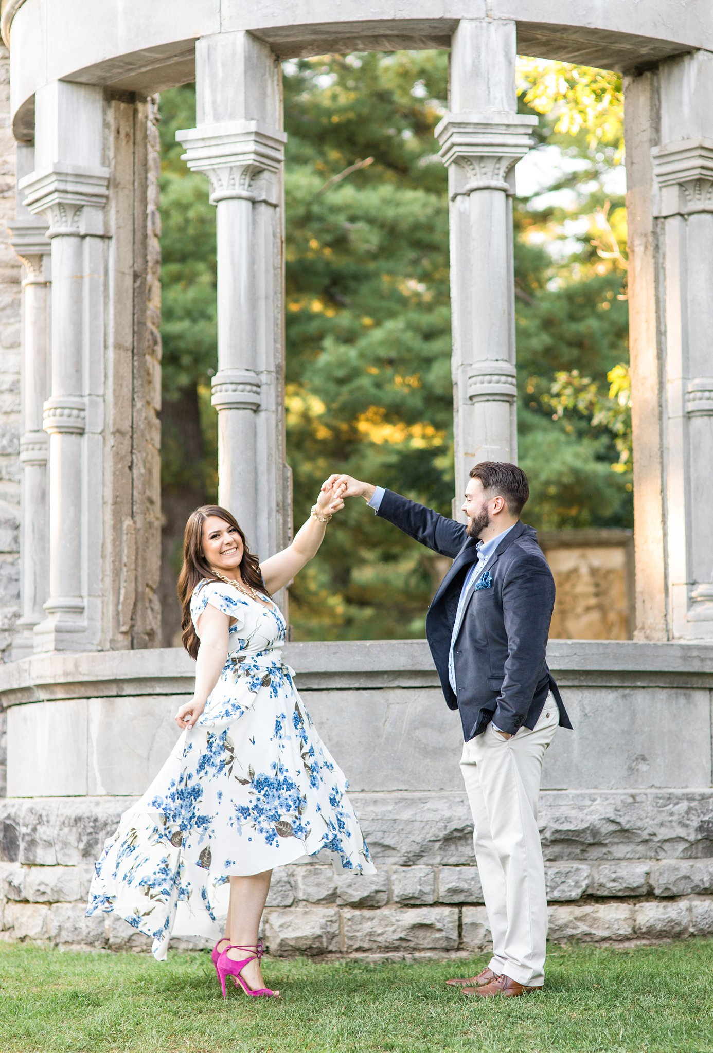 Twirl with white dress and pink shoes, Mackenzie King Estate Engagement Photos by Amy Pinder Photography
