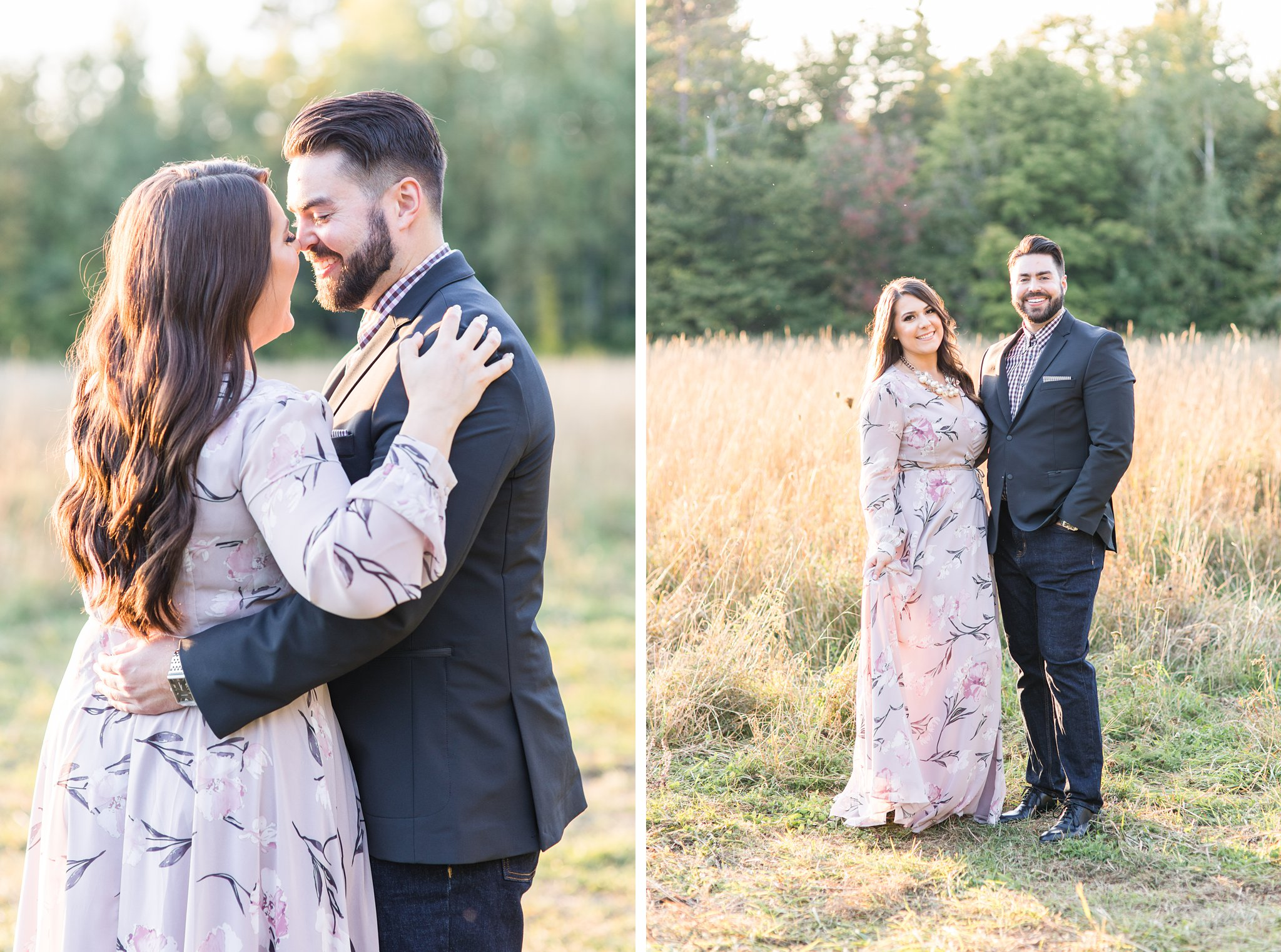 Sunset, golden hour glow light in hair, Mackenzie King Estate Engagement Photos by Amy Pinder Photography