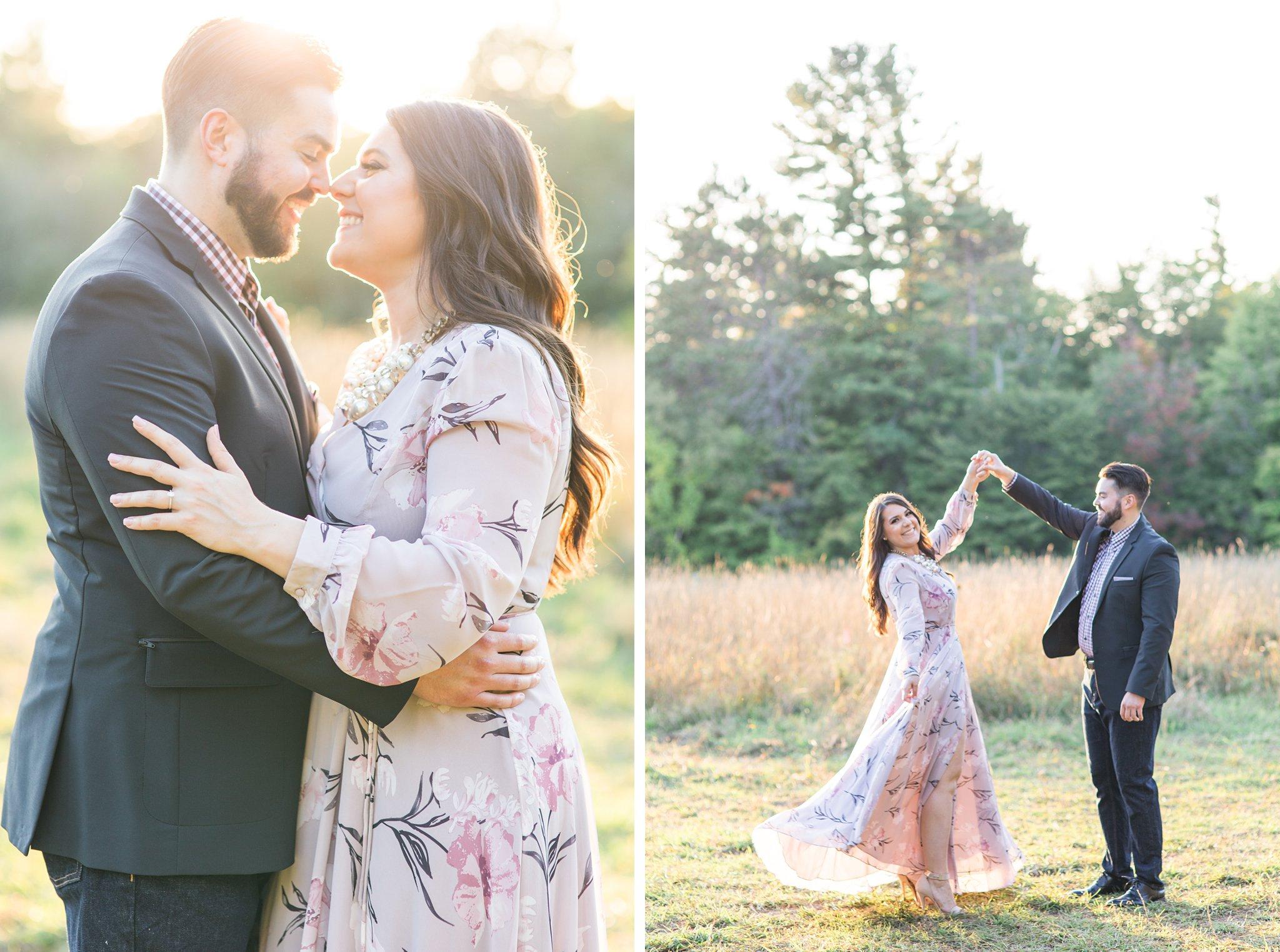 Sunset photos, purple long sleeve dress, Mackenzie King Estate Engagement Photos by Amy Pinder Photography