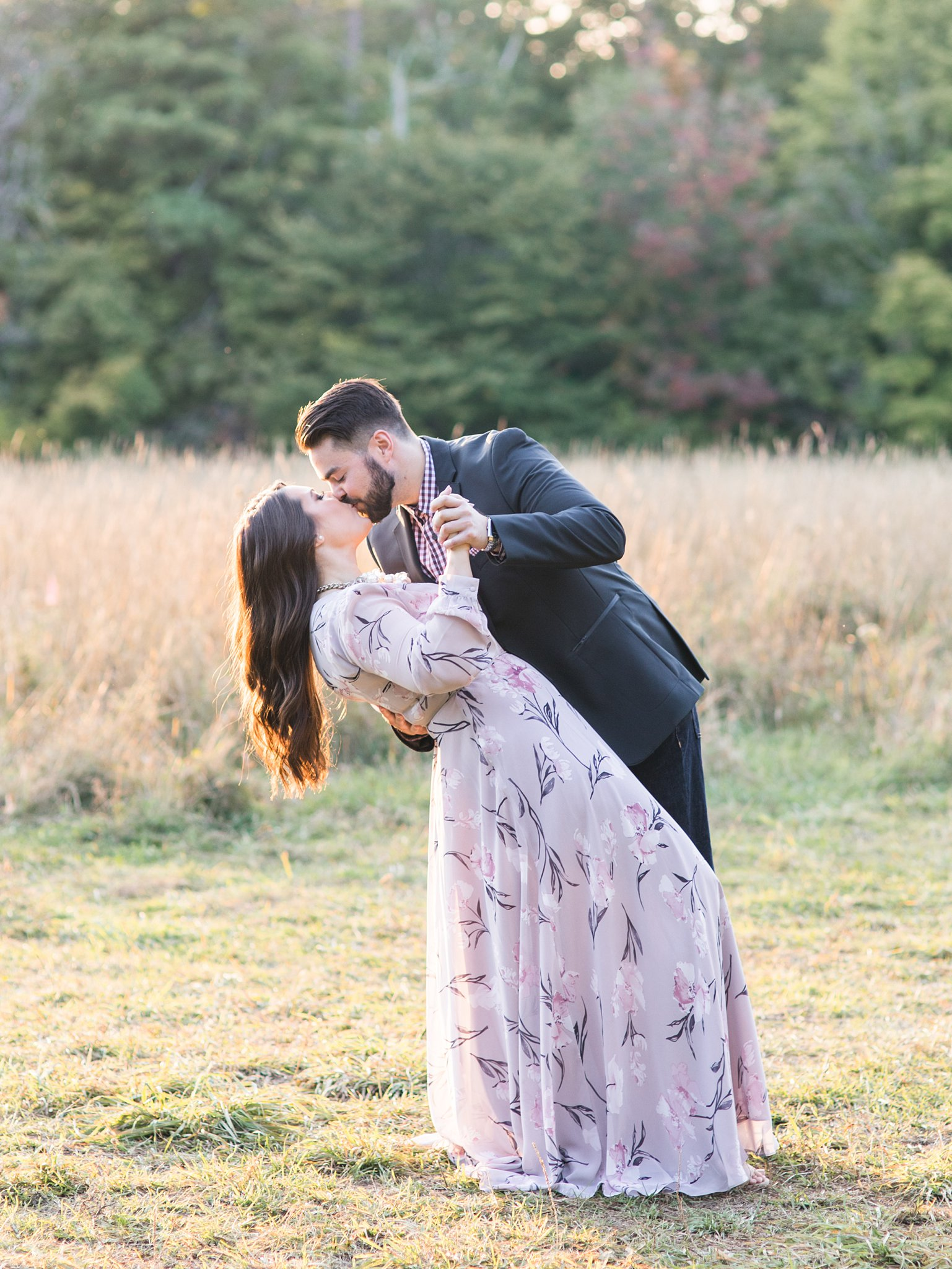 Dip kiss at sunset, Mackenzie King Estate Engagement Photos by Amy Pinder Photography