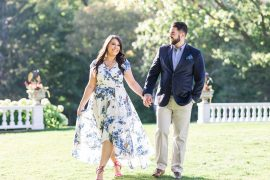Walking on green grass, Mackenzie King Estate Engagement Photos by Amy Pinder Photography