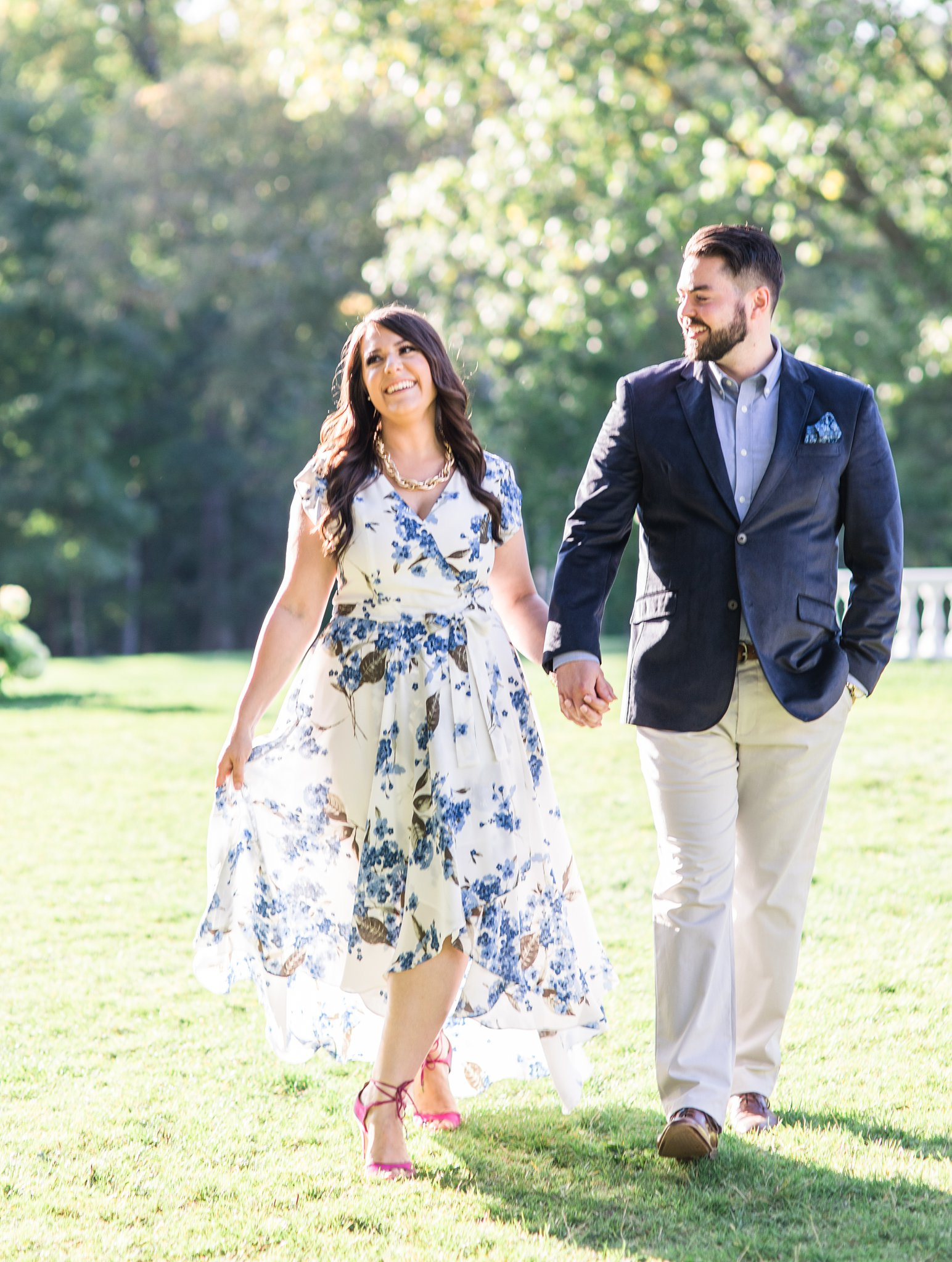 Walking in open sun, Mackenzie King Estate Engagement Photos by Amy Pinder Photography