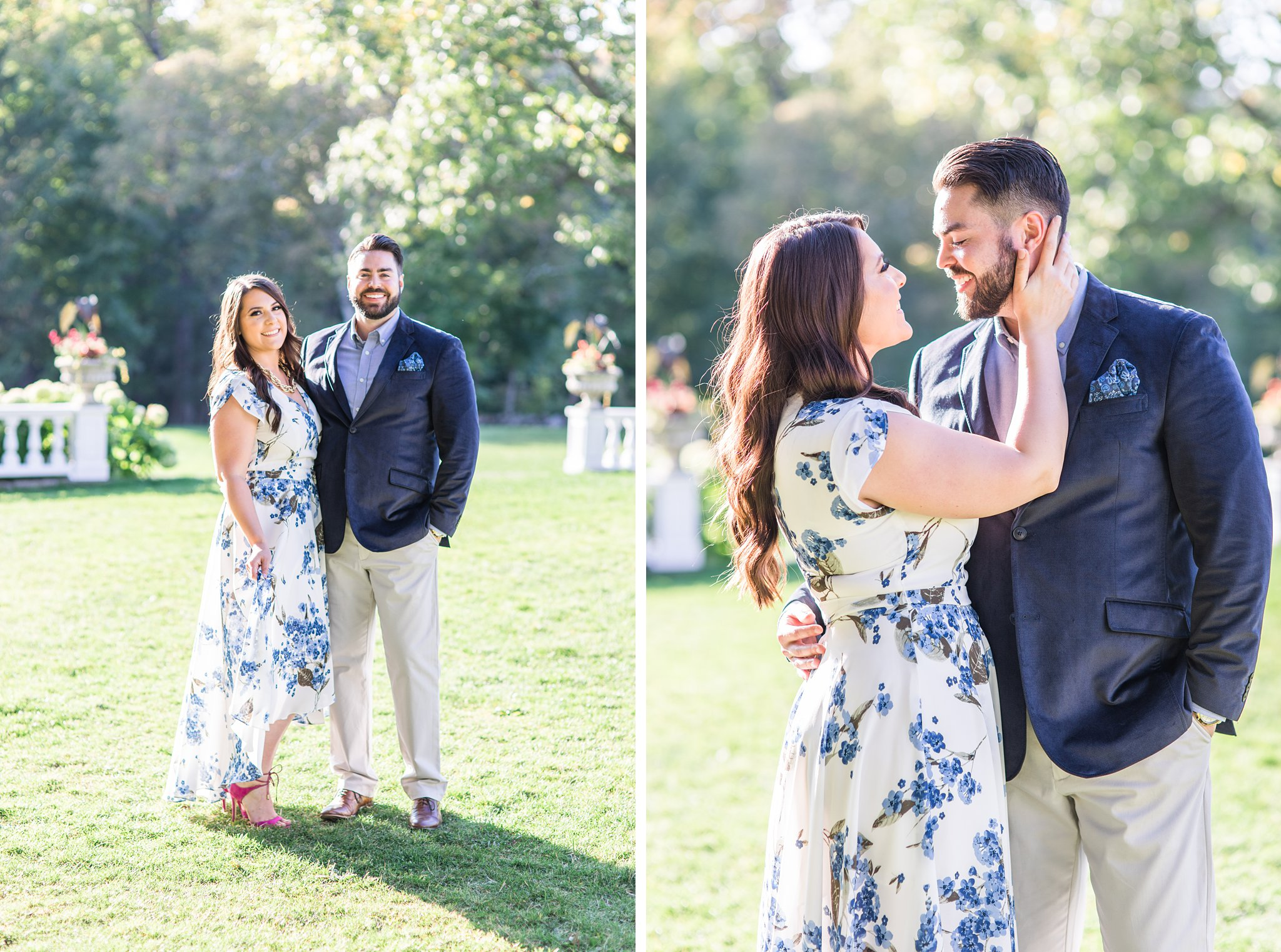 White and blue floral dress, blue jacket, Mackenzie King Estate Engagement Photos by Amy Pinder Photography