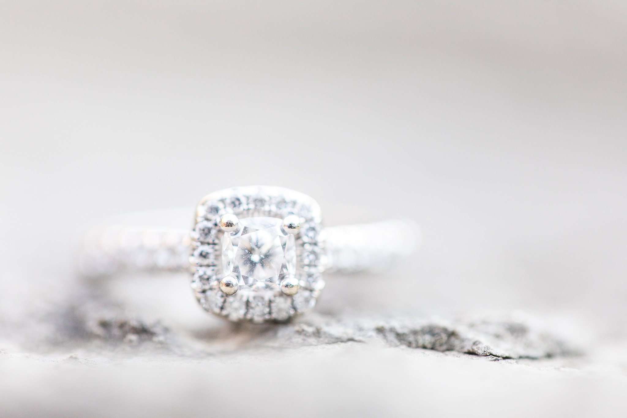 Square halo diamond engagement ring, Wakefield Mill Engagement Photos, Amy Pinder Photography