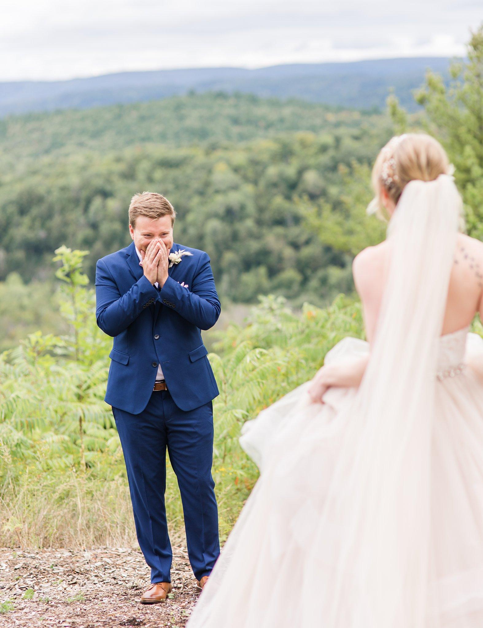 First look reaction, shocked groom, Wakefield wedding photos, Le Belvedere