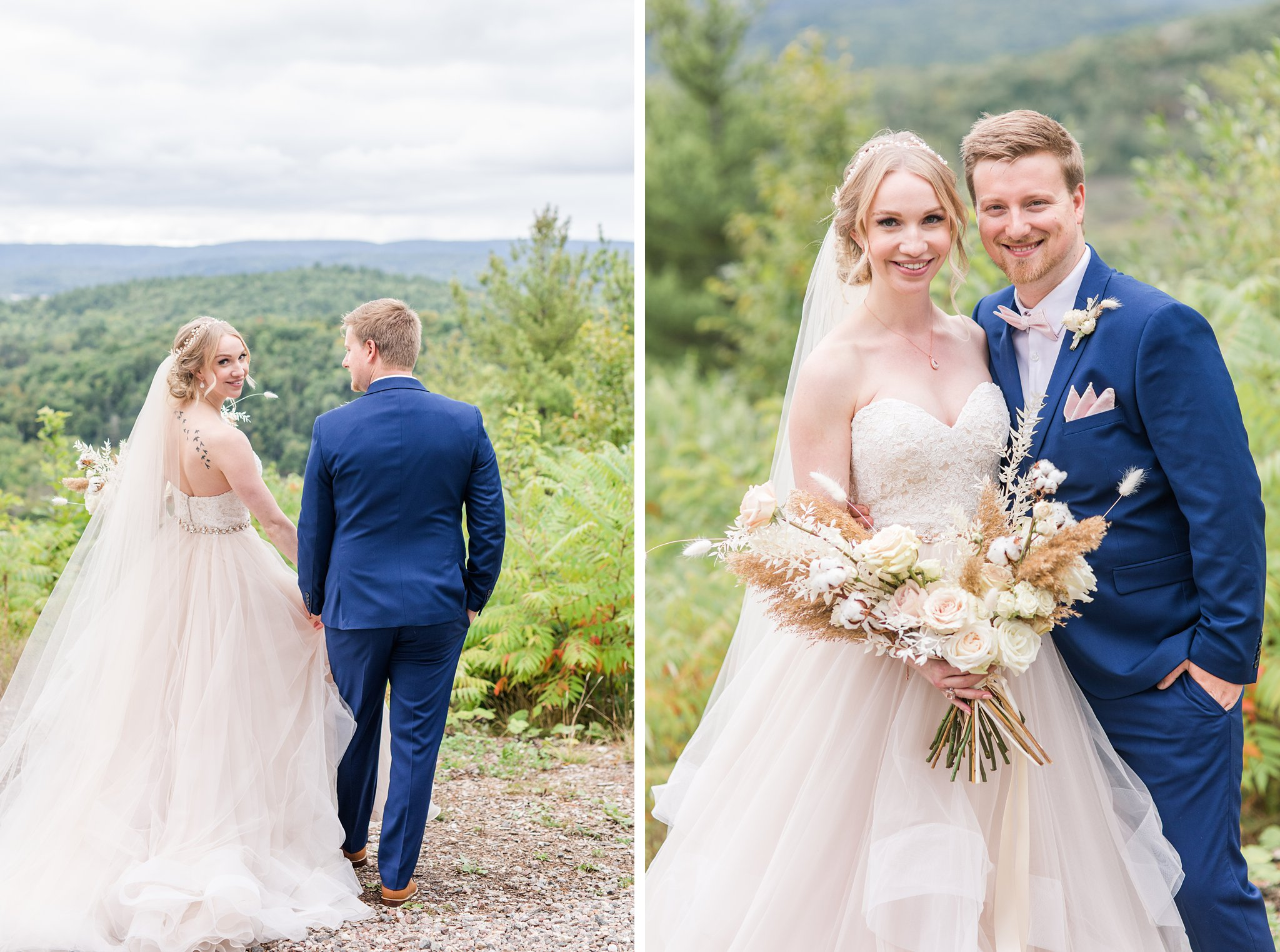 Bride and groom, blue suit, moscato dress, Wakefield wedding photos, Le Belvedere