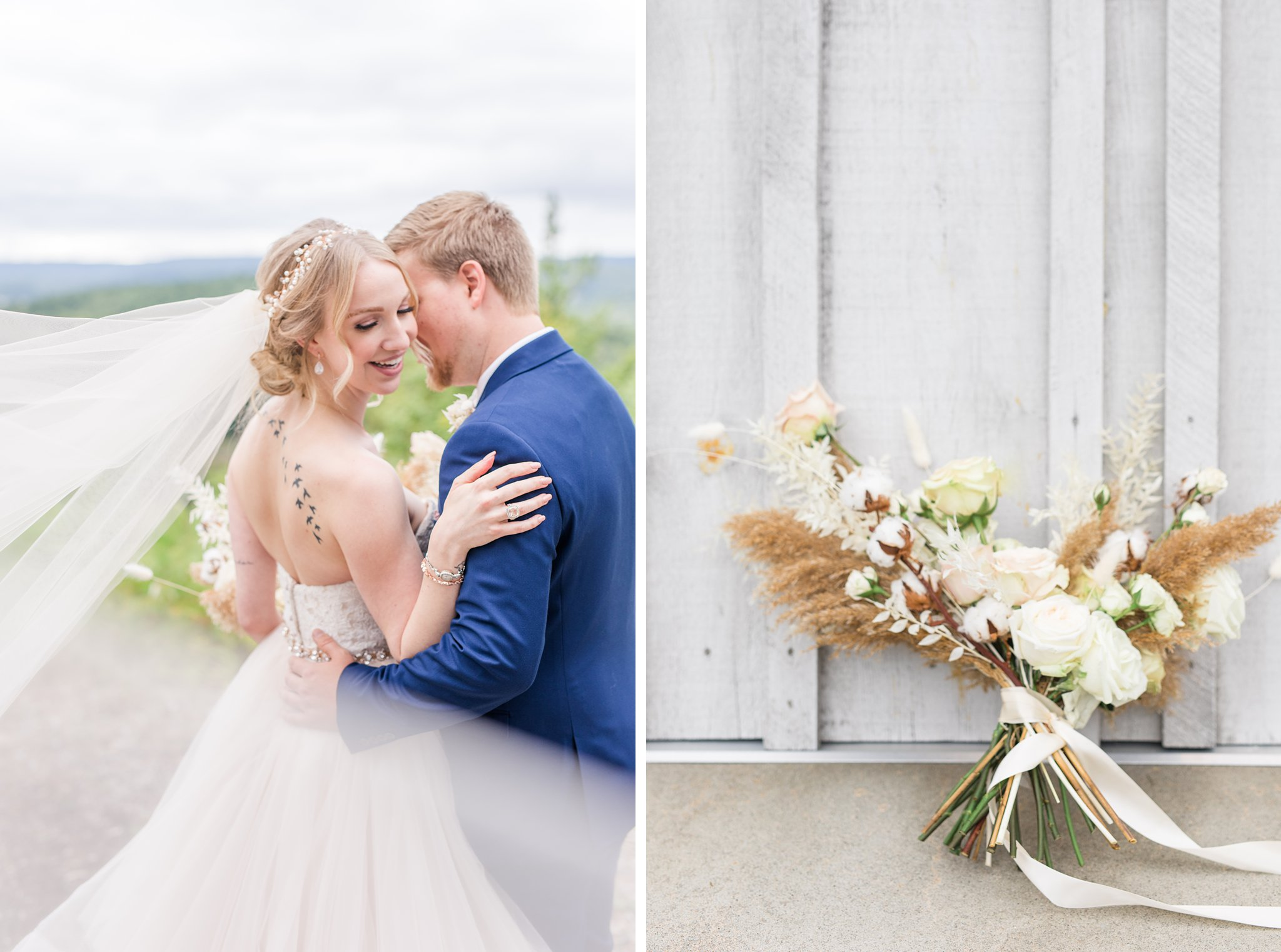 Cathedral veil blows in wind, muted bridal bouquet, Wakefield wedding photos, Le Belvedere