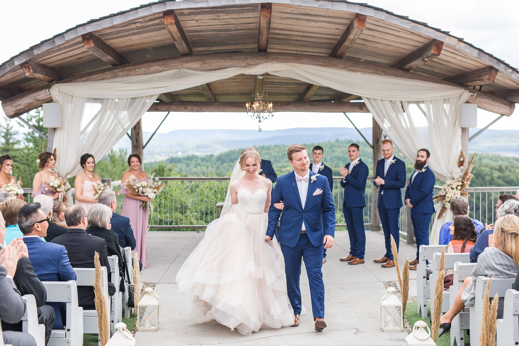 Just married, walking down the aisle, Wakefield wedding photos, Le Belvedere