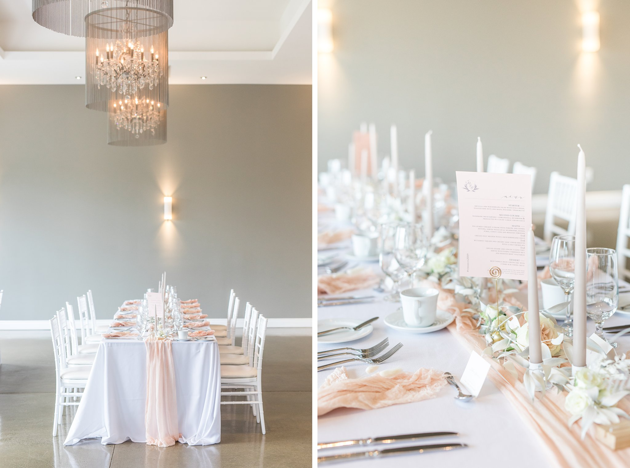 Custom menu signage, La Fabere, Tall candlesticks, table runner, muted colours, Wakefield wedding photos, Le Belvedere