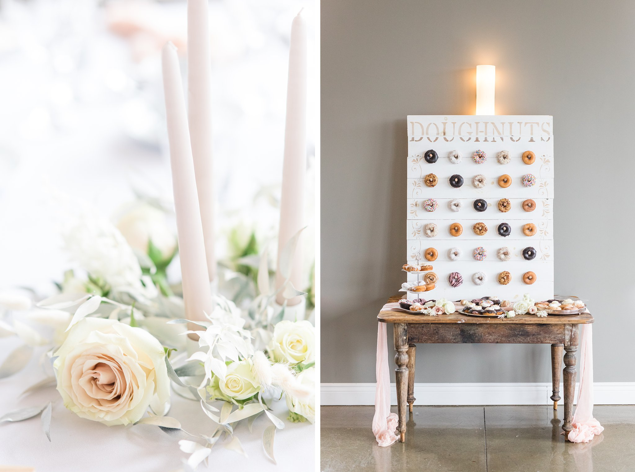 Tall candlesticks, roses, donut wall, Wakefield wedding photos, Le Belvedere