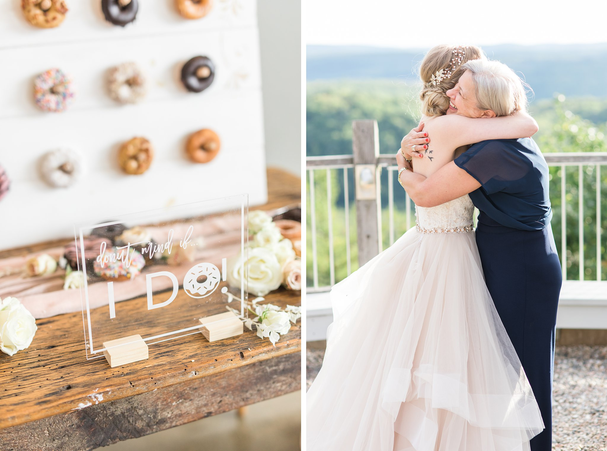 Donut mind if I do sign, clear sign, donut bar, Wakefield wedding photos, Le Belvedere