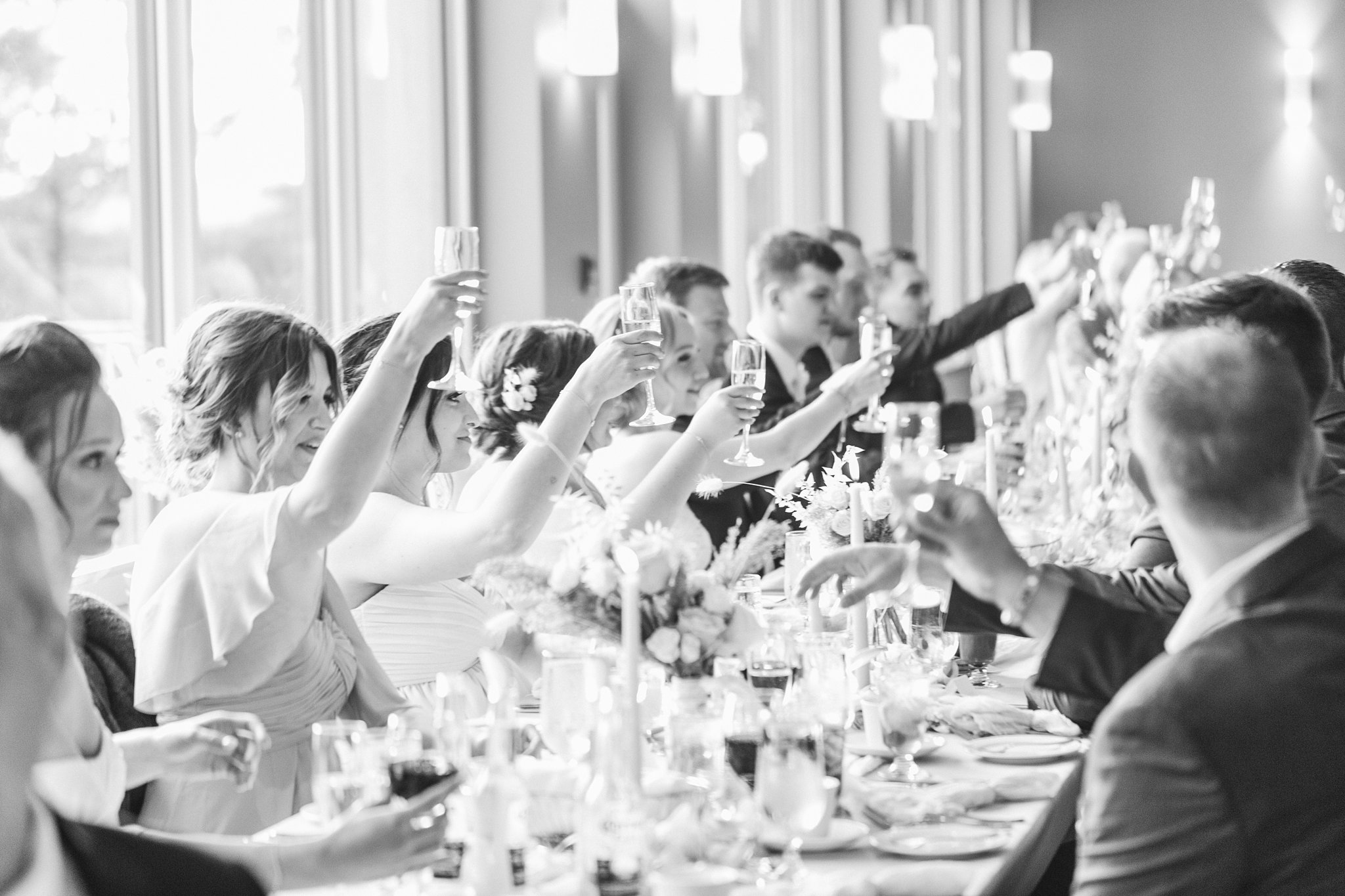 Toast to the bride and groom, Wakefield wedding photos, Le Belvedere