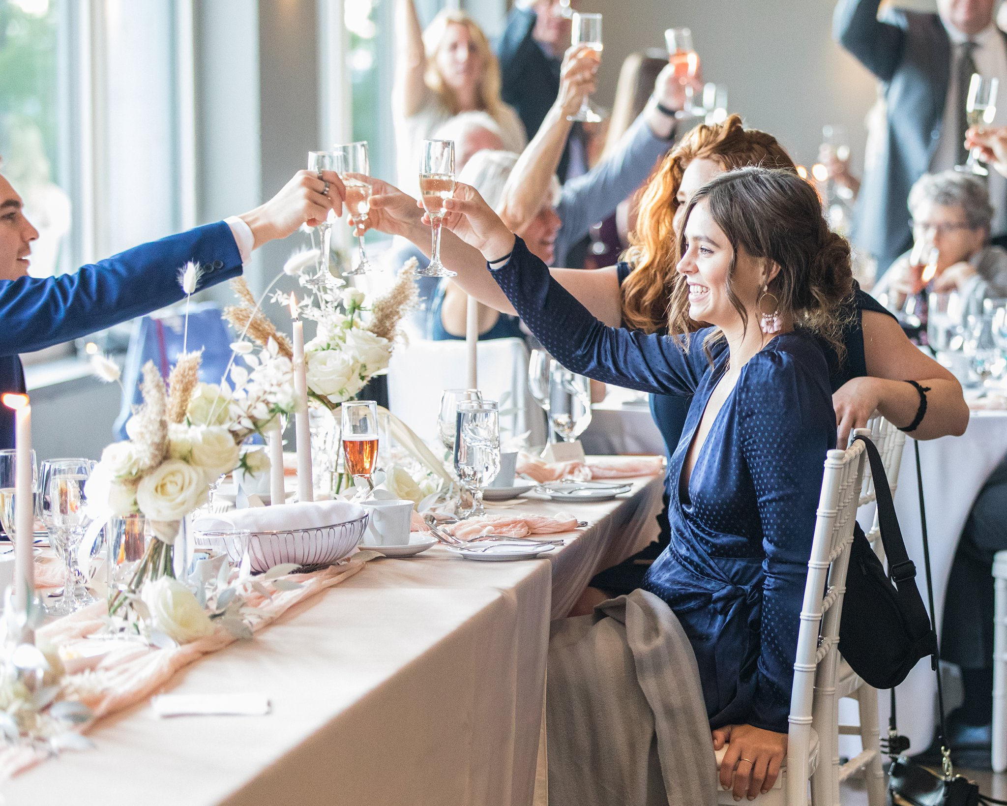Cheers at reception, Wakefield wedding photos, Le Belvedere