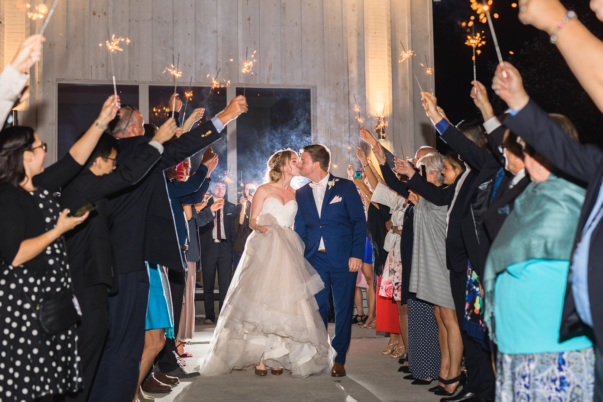 Sparkler entrance to first dance, Wakefield wedding photos, Le Belvedere