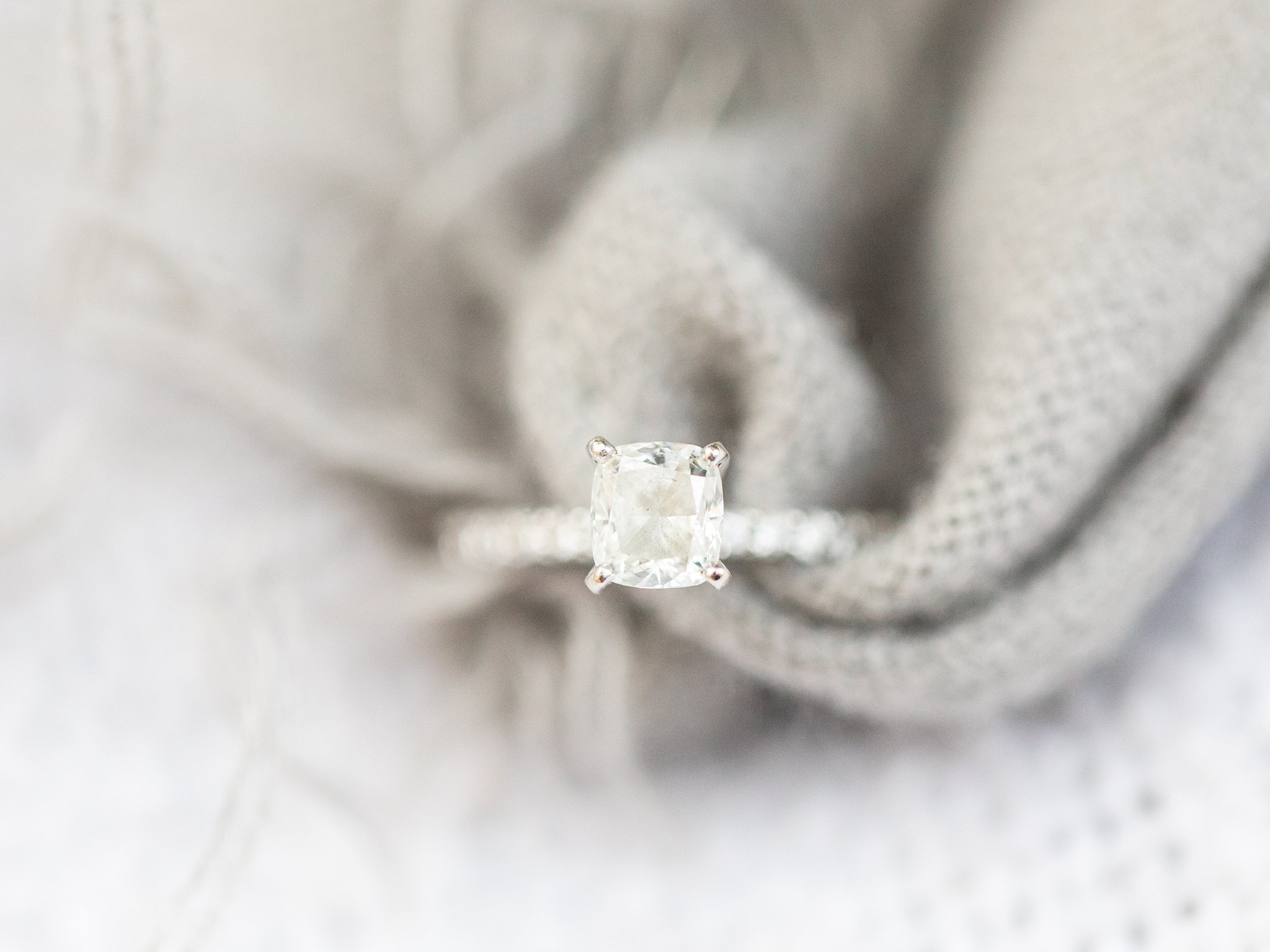 Diamond engagement ring with scarf Old Chelsea Engagement Photos by Amy Pinder Photography
