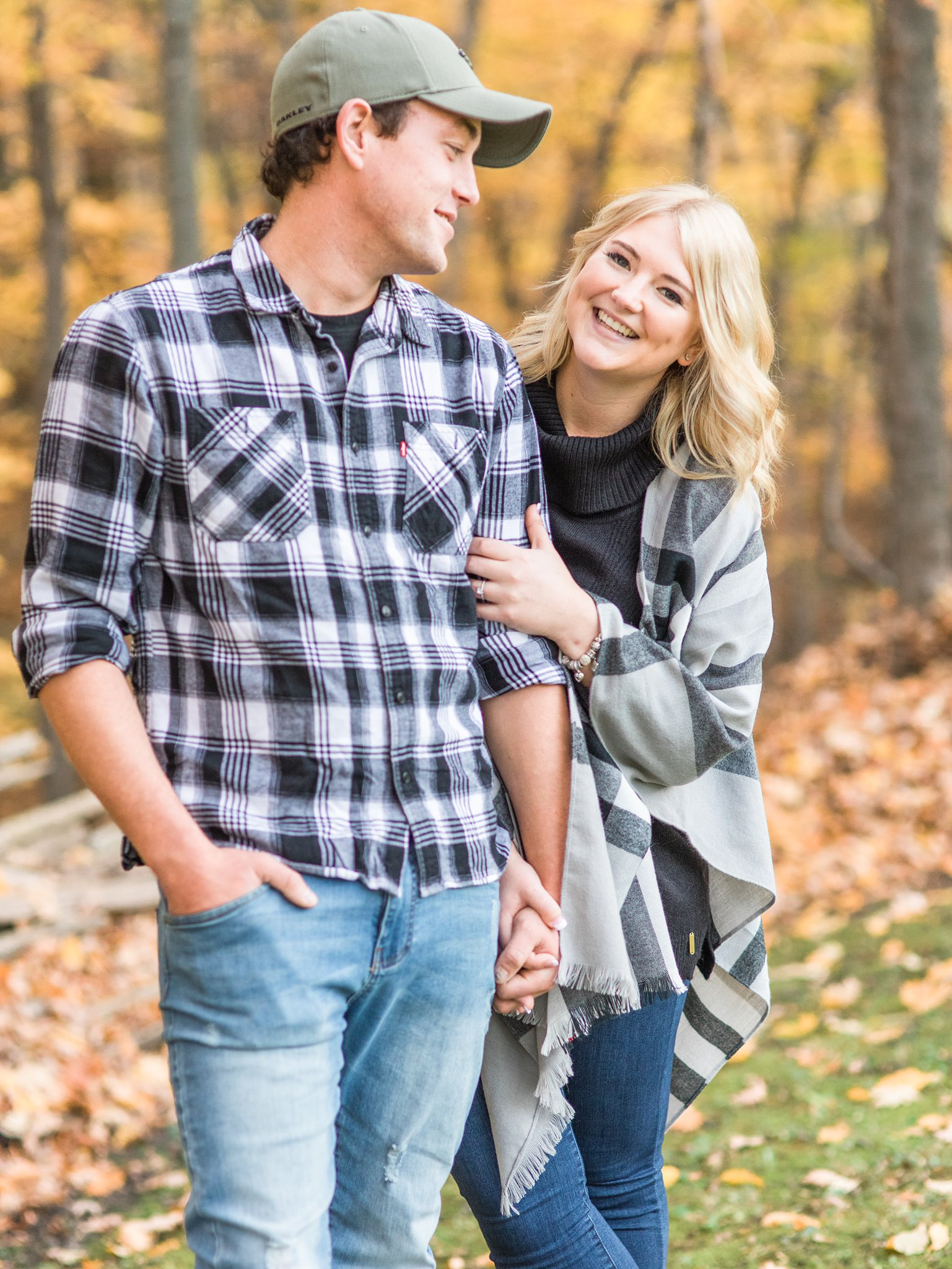 Yellow fall leaves Old Chelsea Engagement Photos by Amy Pinder Photography