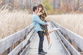 Lift in tall grass Mer Bleue Boardwalk Engagement Photos