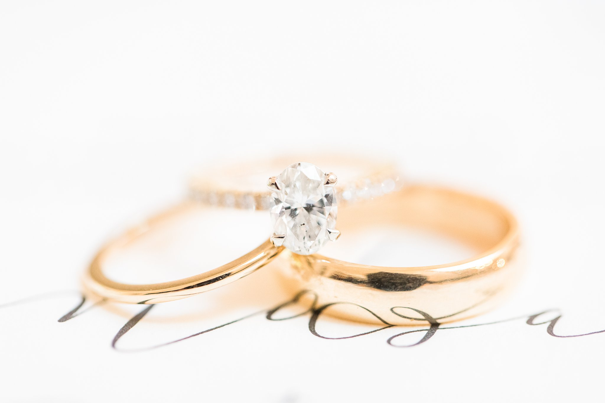 Goldform wedding bands, oval diamond ring, Opinicon Wedding Photos by Amy Pinder Photography