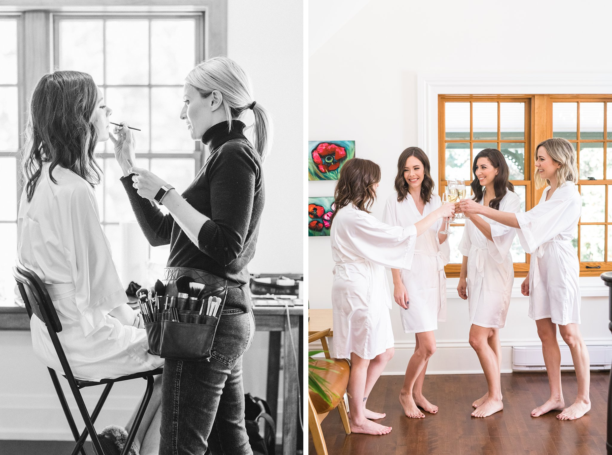 Champagne toast at bride prep, Opinicon Wedding Photos by Amy Pinder Photography