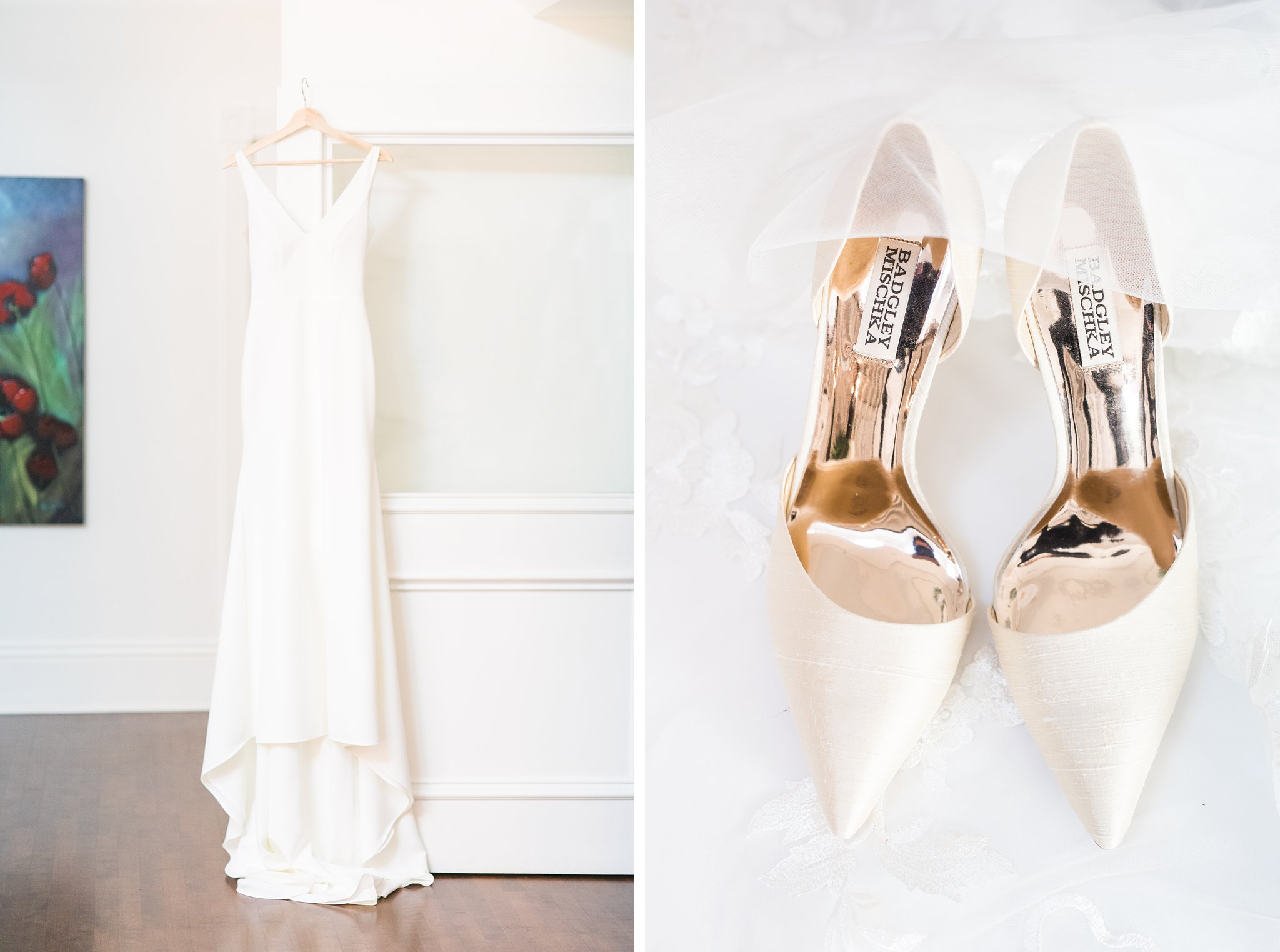 White minimalist dress and shoes, Opinicon Wedding Photos by Amy Pinder Photography