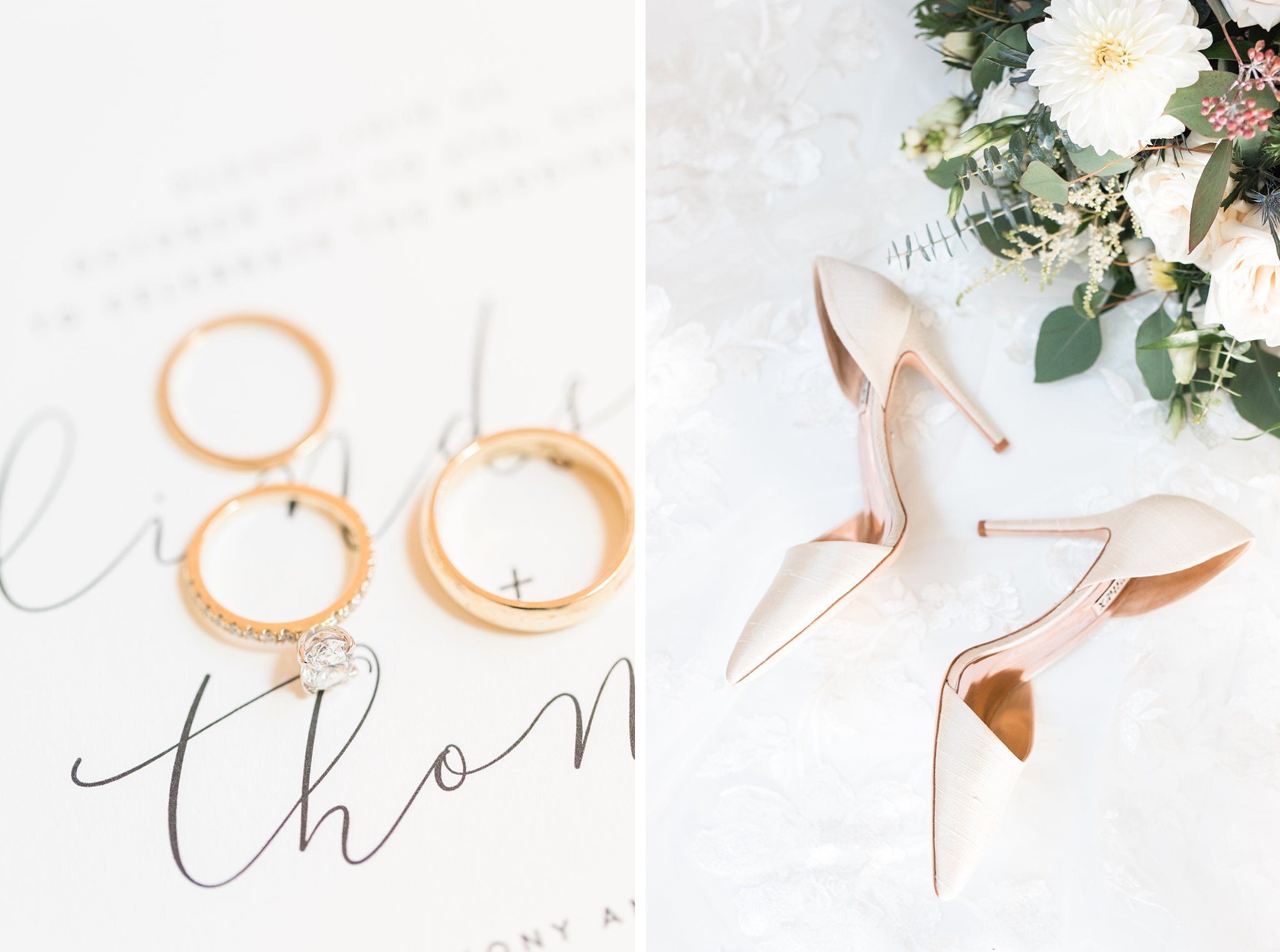 Bridal details, heels, rings, invitations, Opinicon Wedding Photos by Amy Pinder Photography