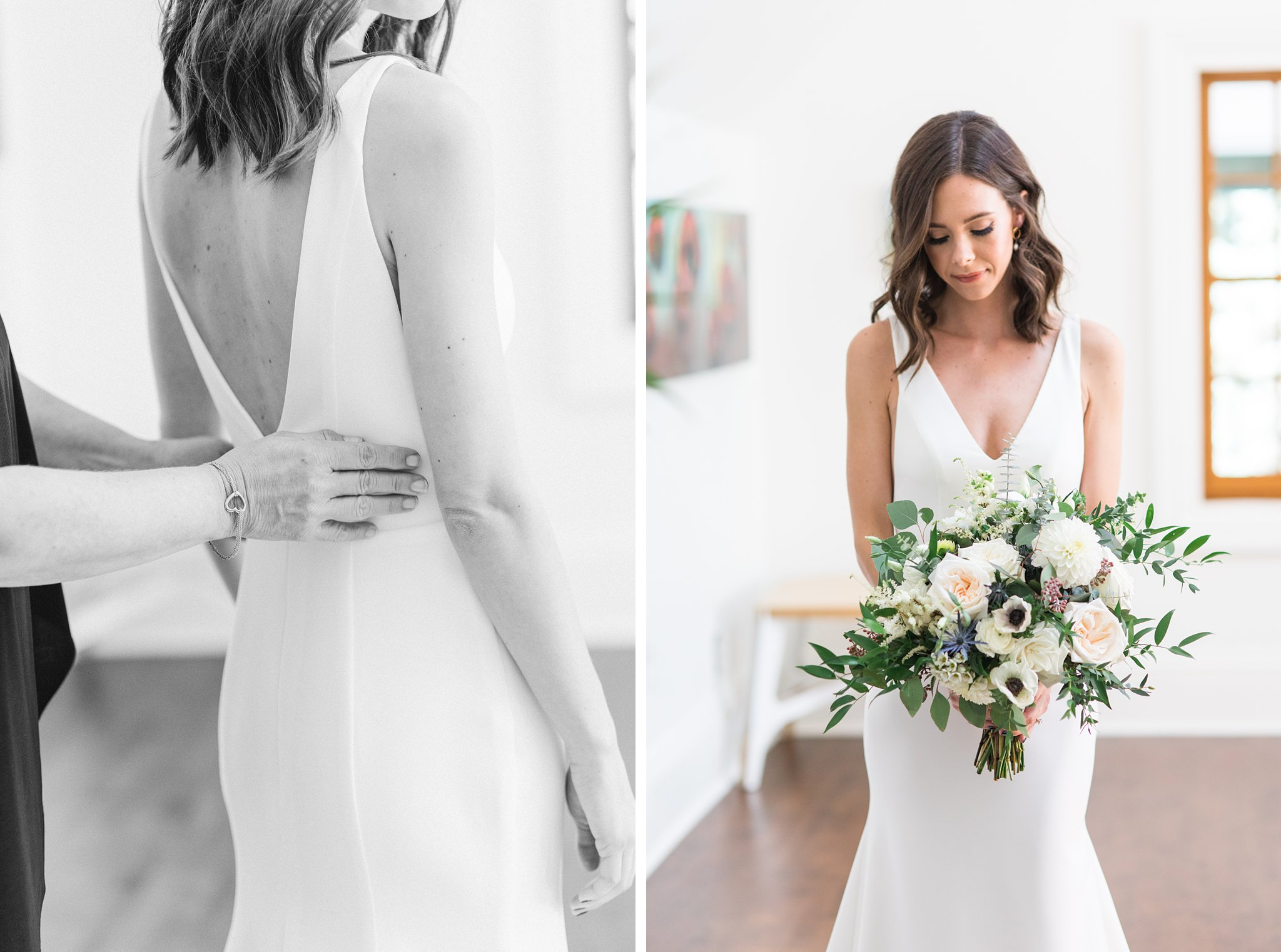 Simple dress design back, Opinicon Wedding Photos by Amy Pinder Photography
