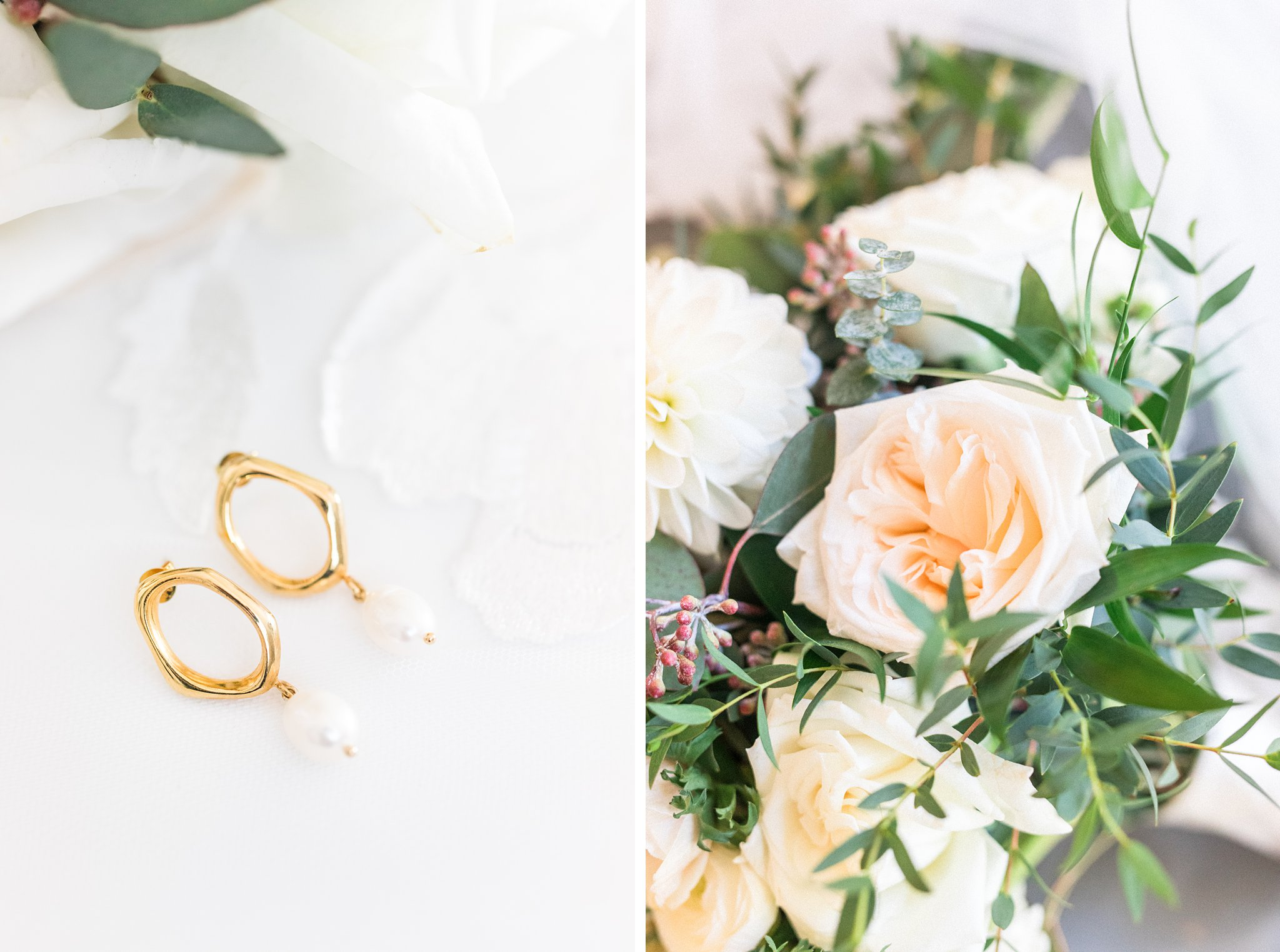Gold earrings with pearl, Opinicon Wedding Photos by Amy Pinder Photography