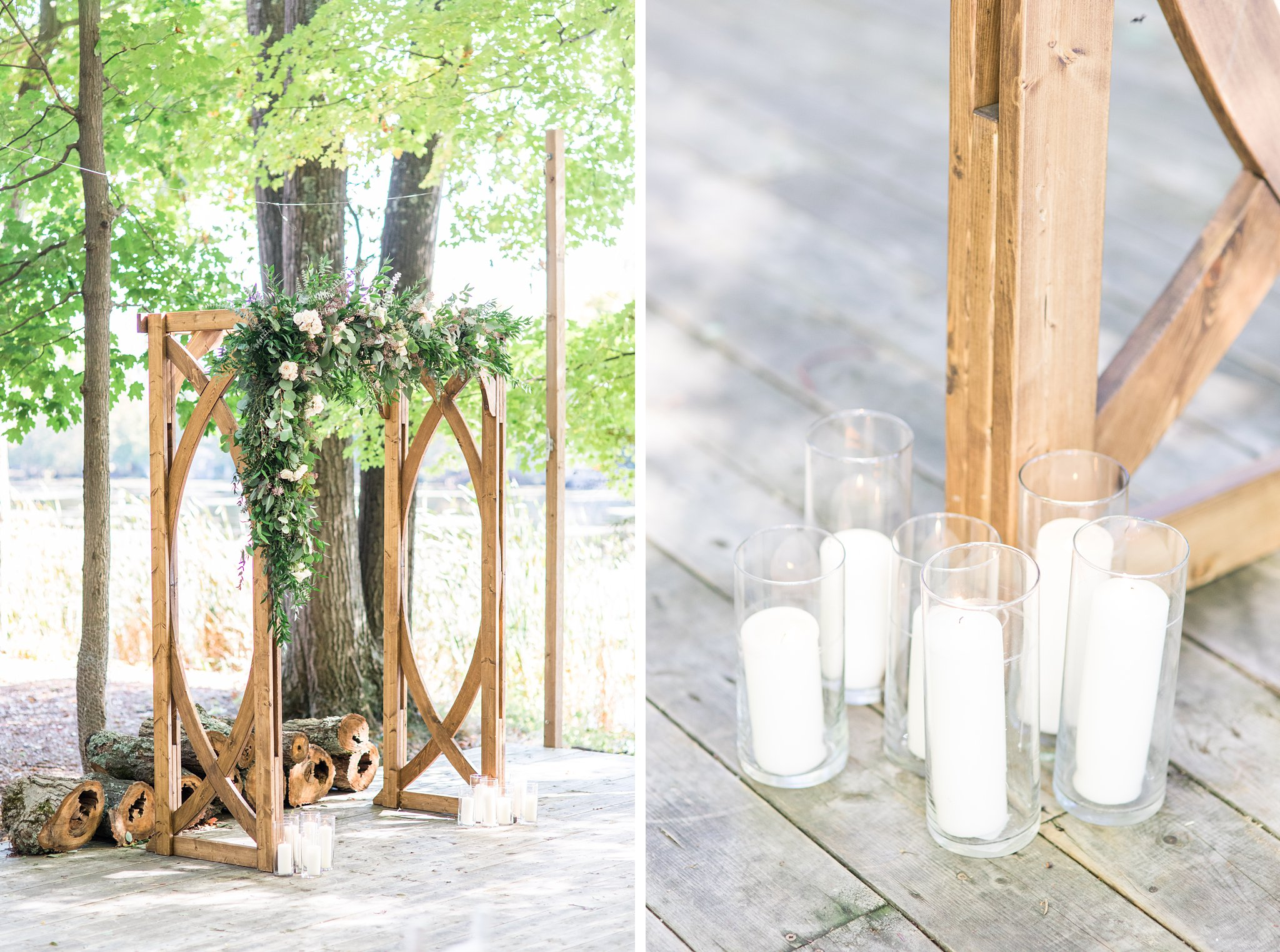 Wooden ceremony arch with candles, Opinicon Wedding Photos by Amy Pinder Photography