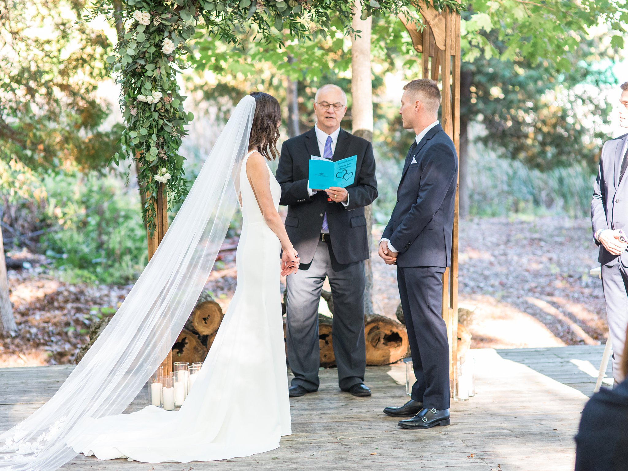 Forest wedding ceremony, cathedral veil, Opinicon Wedding Photos by Amy Pinder Photography