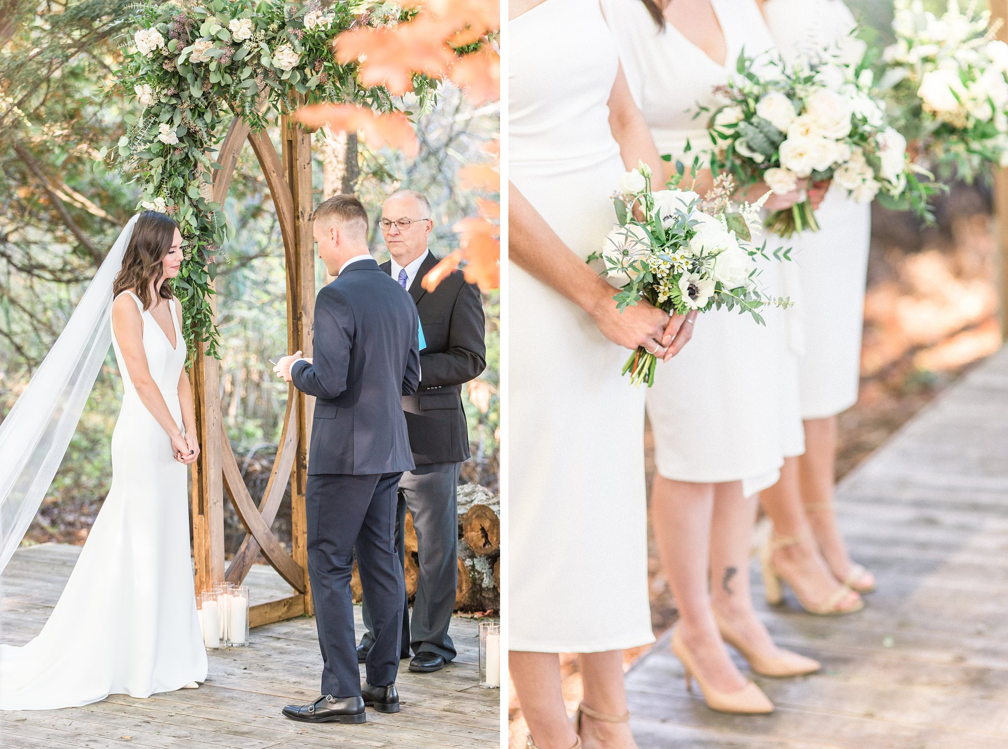Bridesmaids wear white dresses and hold greenery bouquets, Opinicon Wedding Photos by Amy Pinder Photography