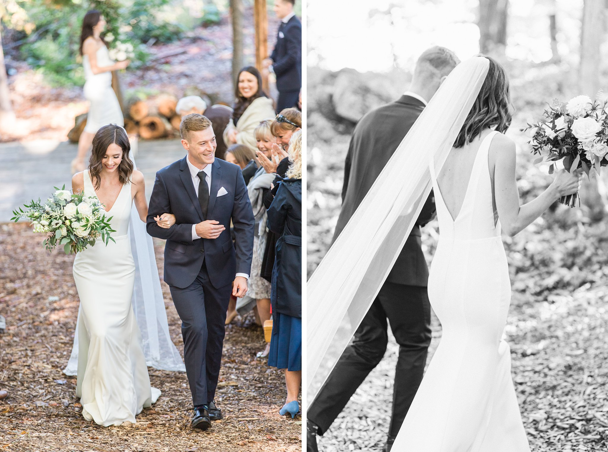 Bride and groom walk down the aisle, Opinicon Wedding Photos by Amy Pinder Photography