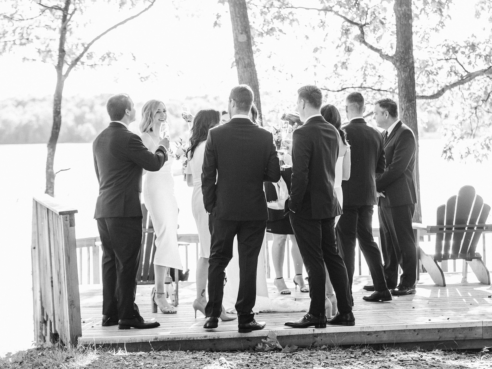 Cocktail hour in black and white, Opinicon Wedding Photos by Amy Pinder Photography