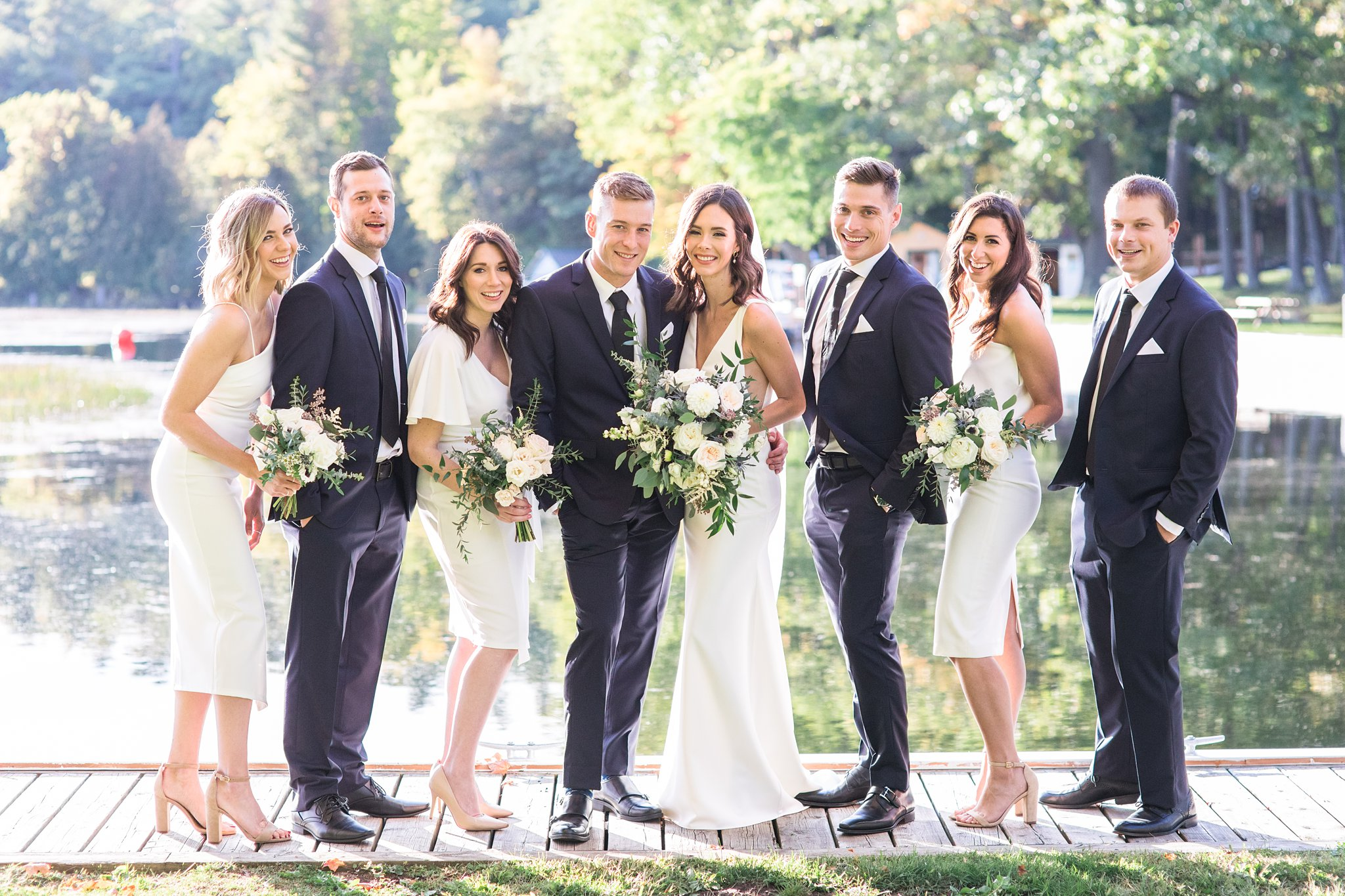 Wedding party at the lake, Opinicon Wedding Photos by Amy Pinder Photography