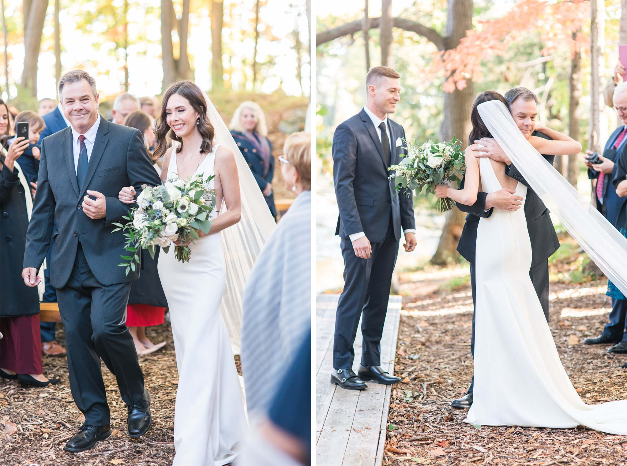 Bride walks down the aisle with her father, fall colours, Opinicon Wedding Photos by Amy Pinder Photography