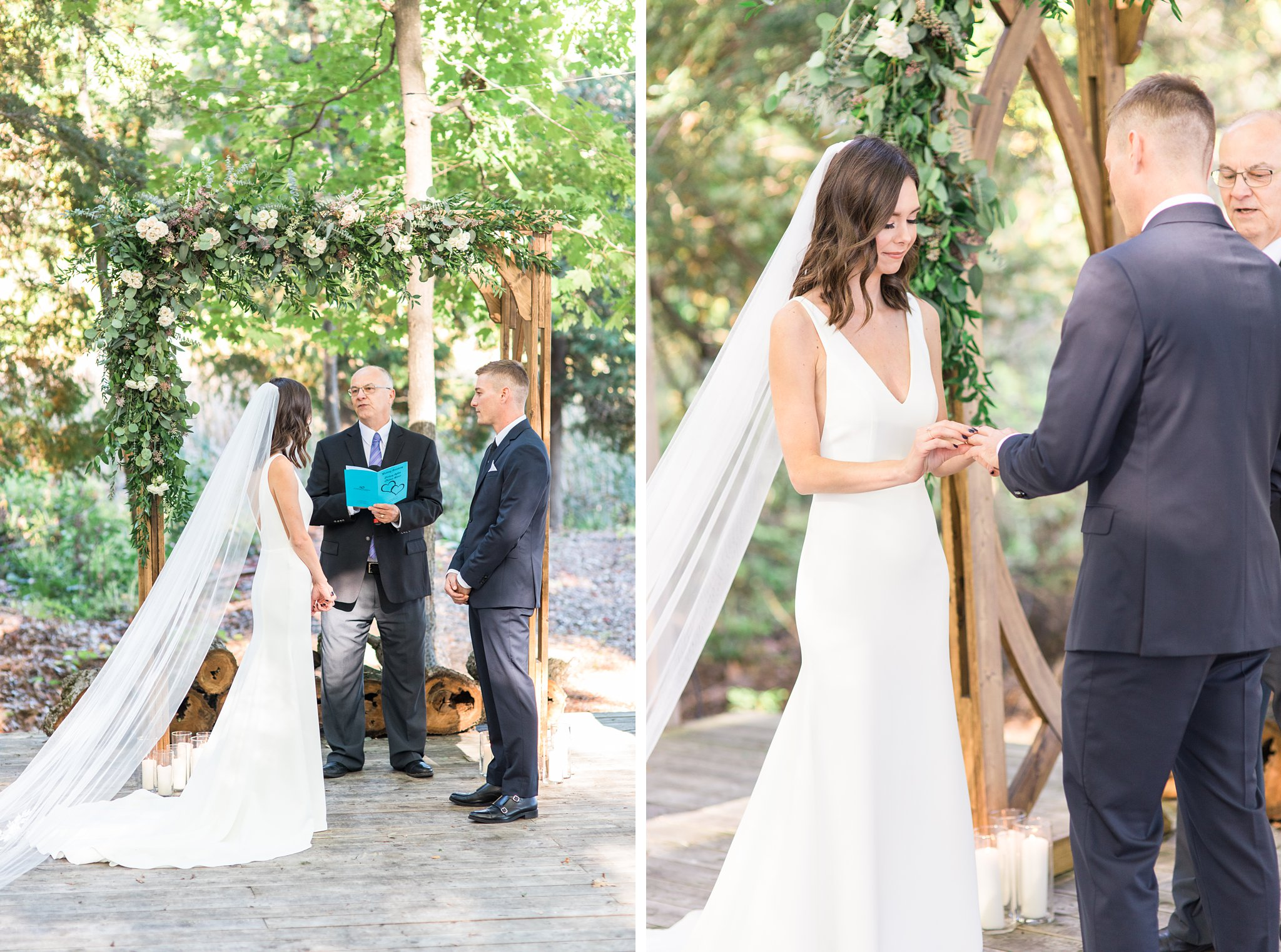 Bride slides ring on groom's finger in outdoor forest ceremony, Opinicon Wedding Photos by Amy Pinder Photography