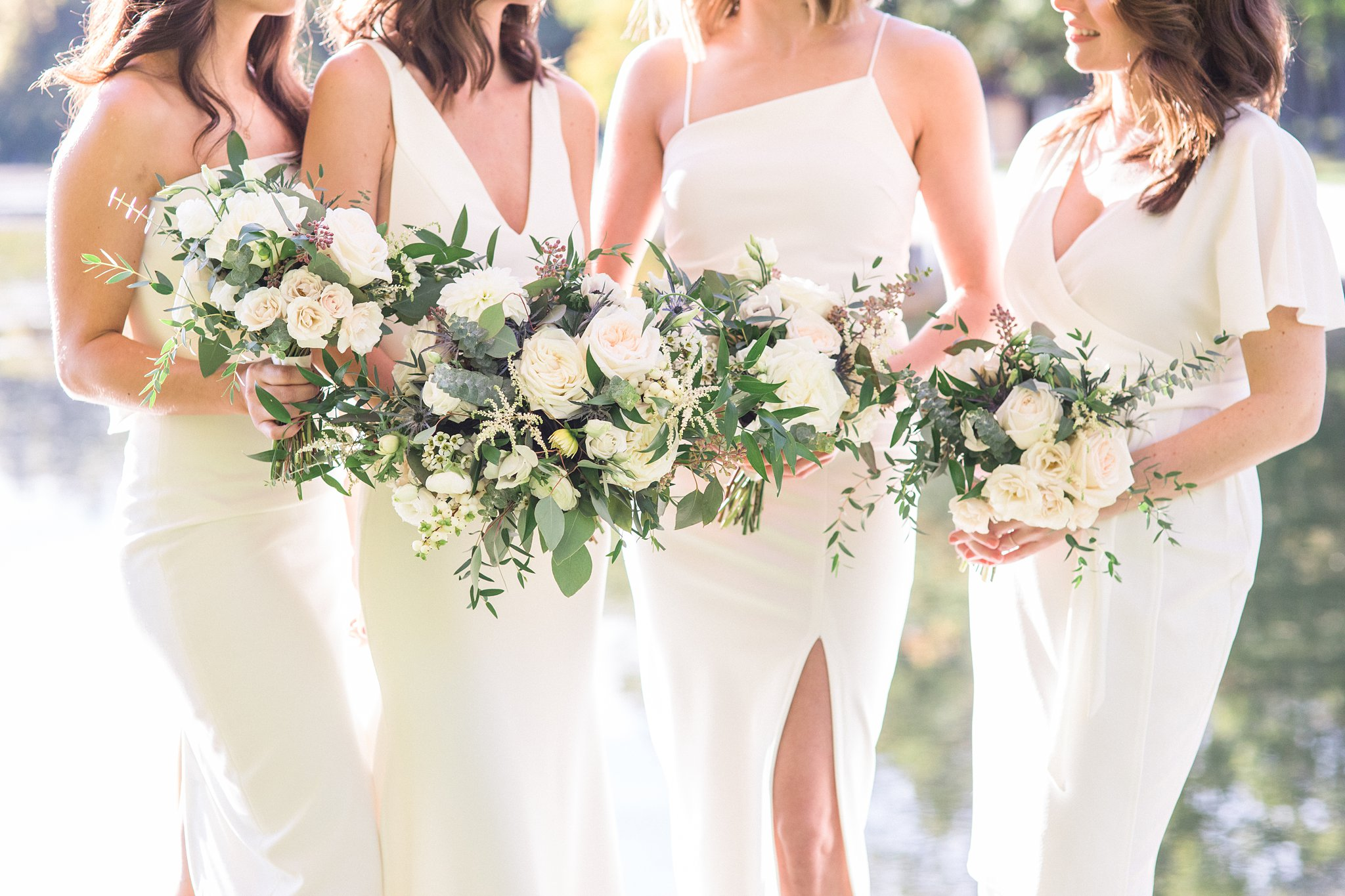 Bridesmaids in white dresses, Opinicon Wedding Photos by Amy Pinder Photography