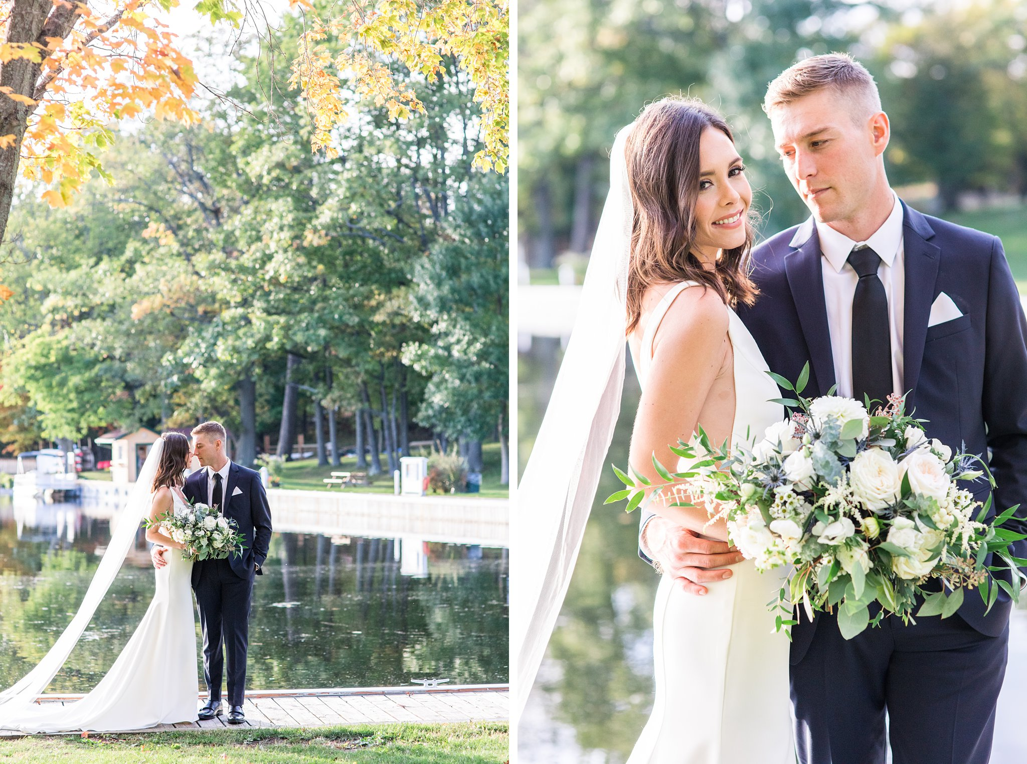 Bride and groom photos on the Rideau River, Opinicon Wedding Photos by Amy Pinder Photography