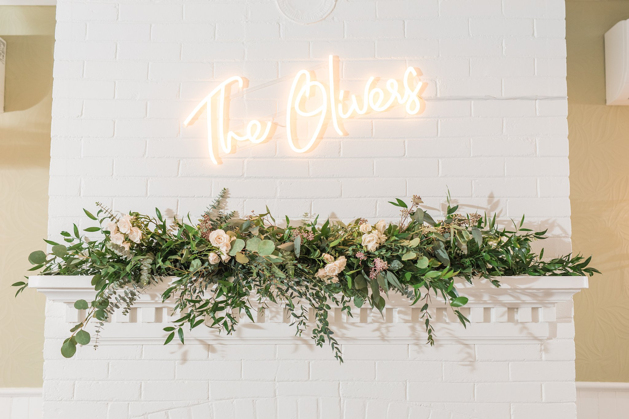 Neon wedding sign with couple's last name, Opinicon Wedding Photos by Amy Pinder Photography