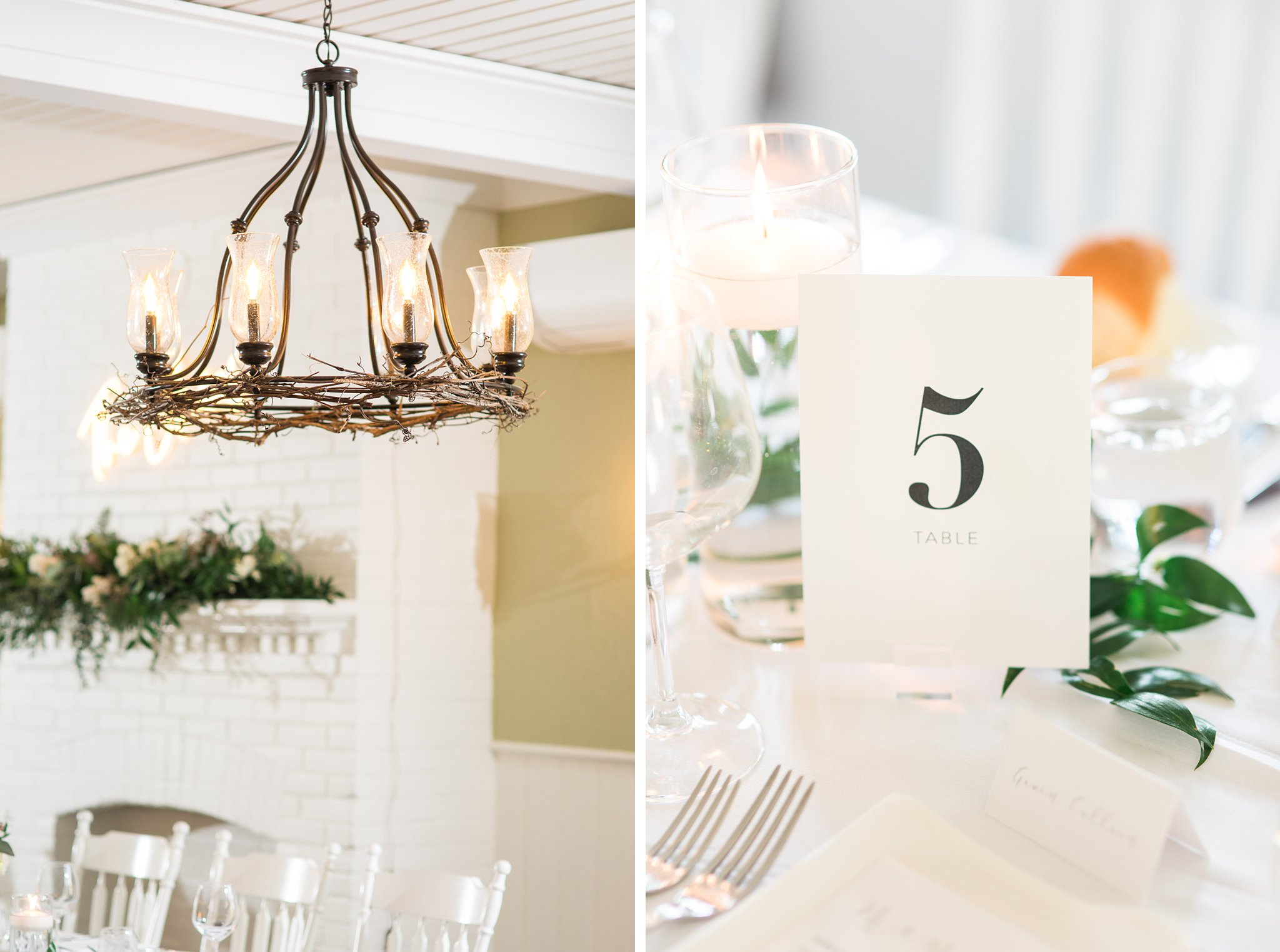 Reception details in the dining room at the Opinicon Wedding by Amy Pinder Photography