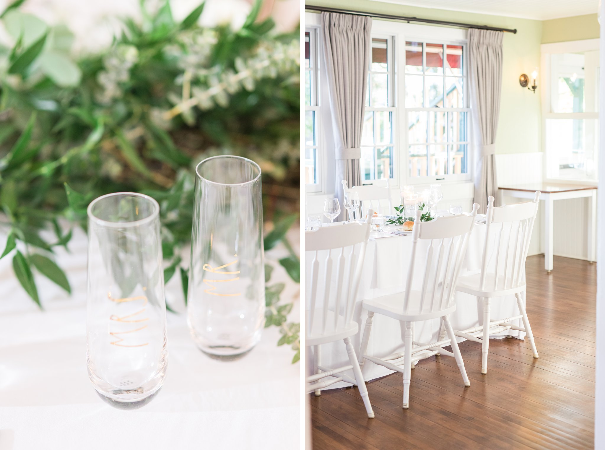Mr and Mrs glasses for the head table, Opinicon Wedding Photos by Amy Pinder Photography