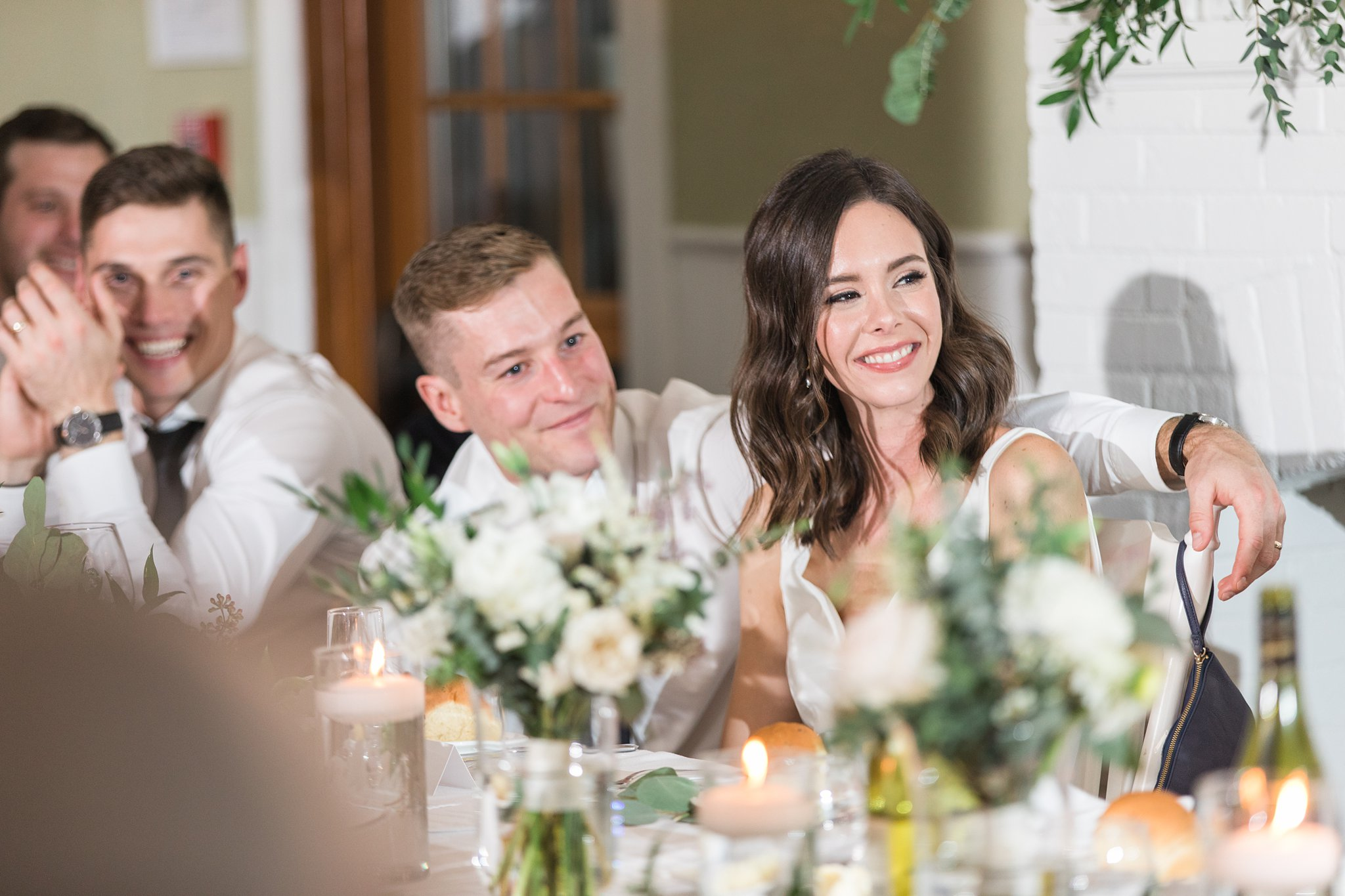 Toasts or roasts at the Opinicon Wedding by Amy Pinder Photography