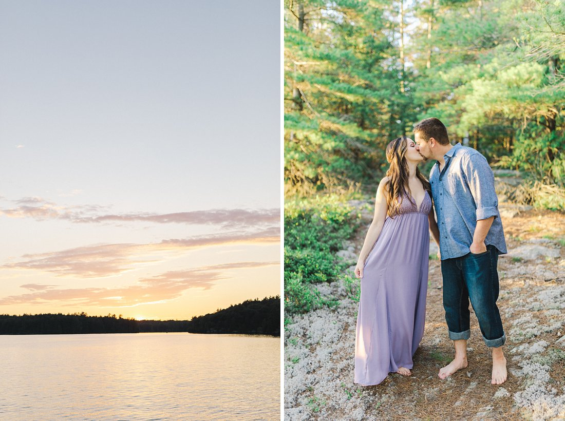 Golden hour sunset engagement photos at family cottage
