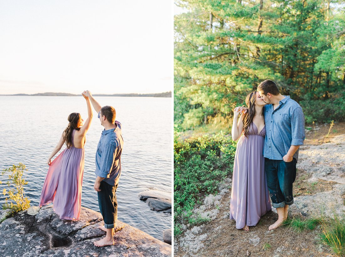private island engagement photos at the lake