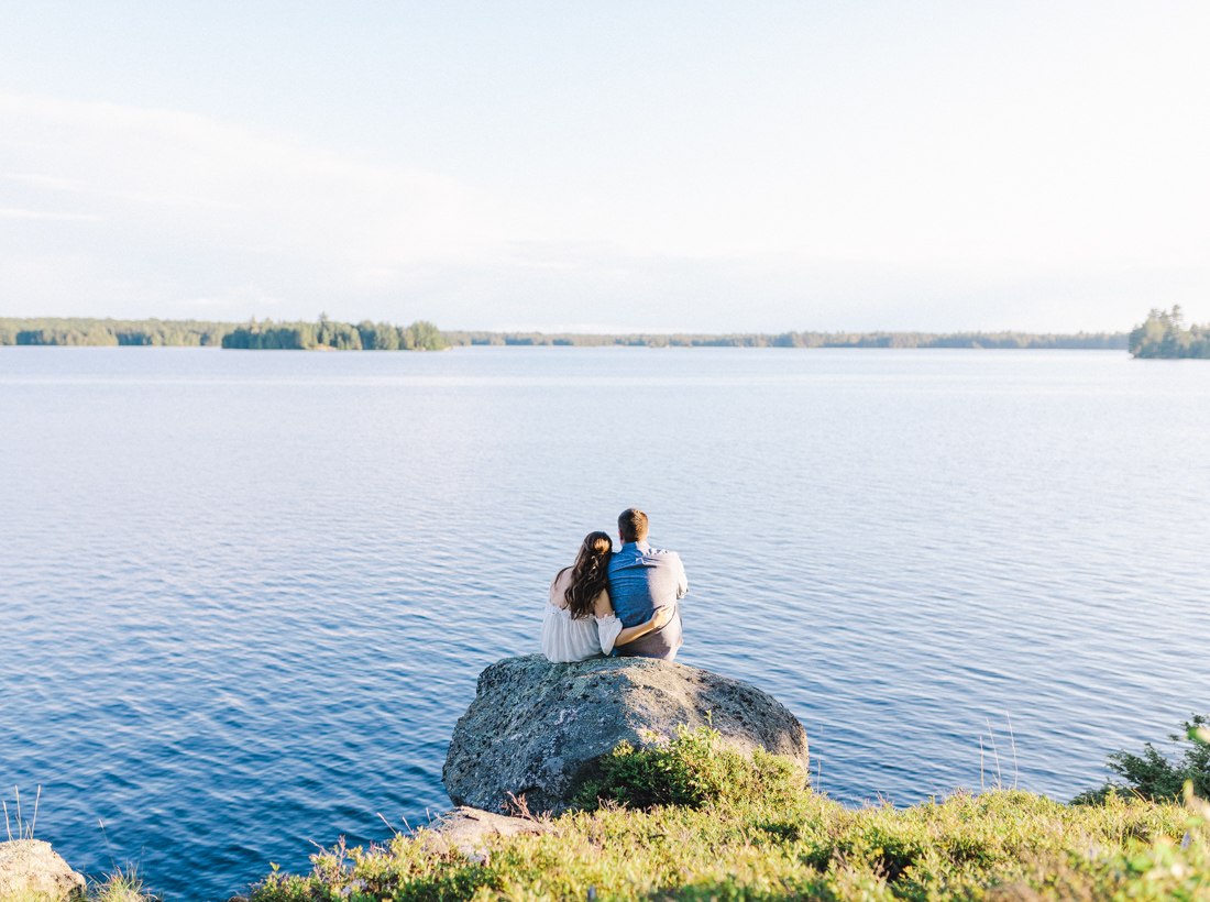 Golden hour sunset engagement photos at cottage