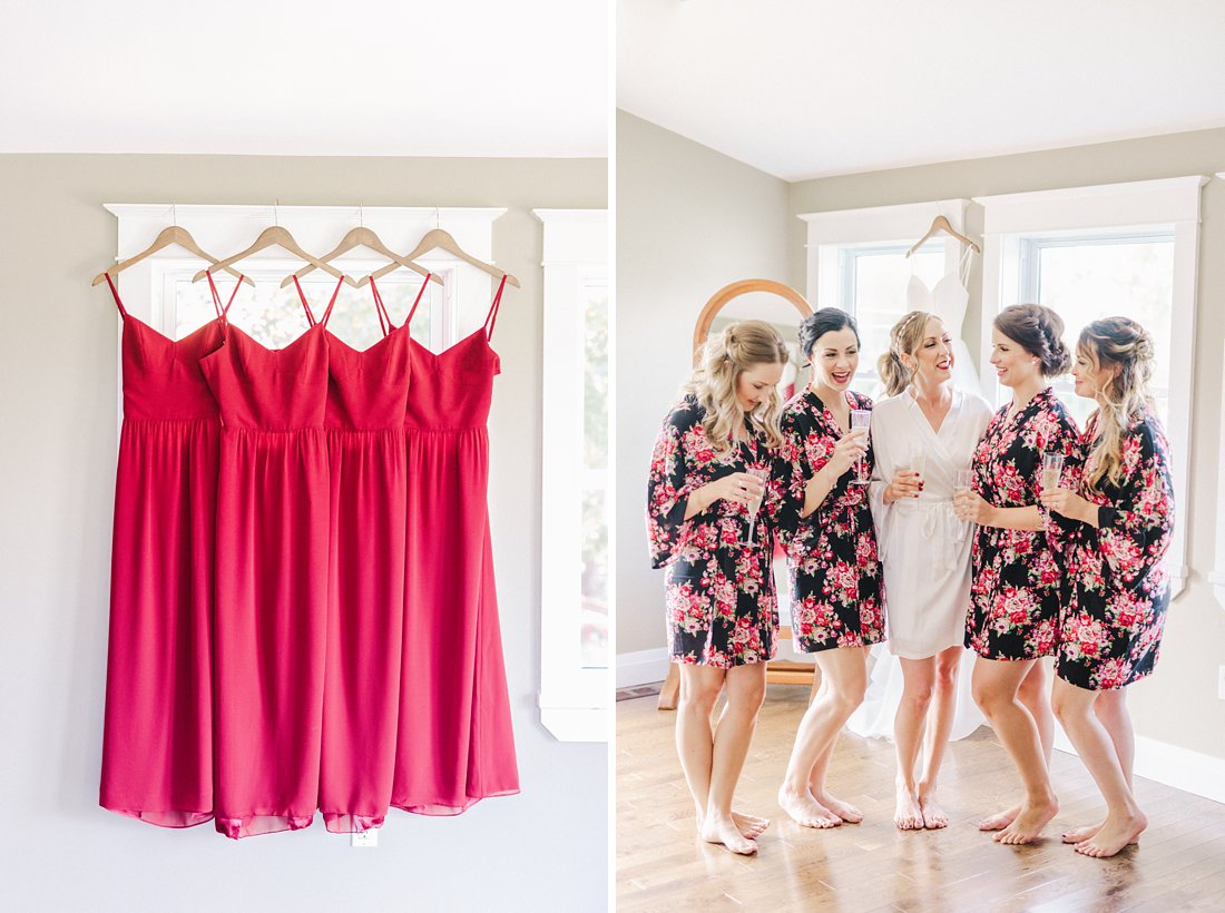 Red bridesmaid dresses open back Jabulani Wedding photos